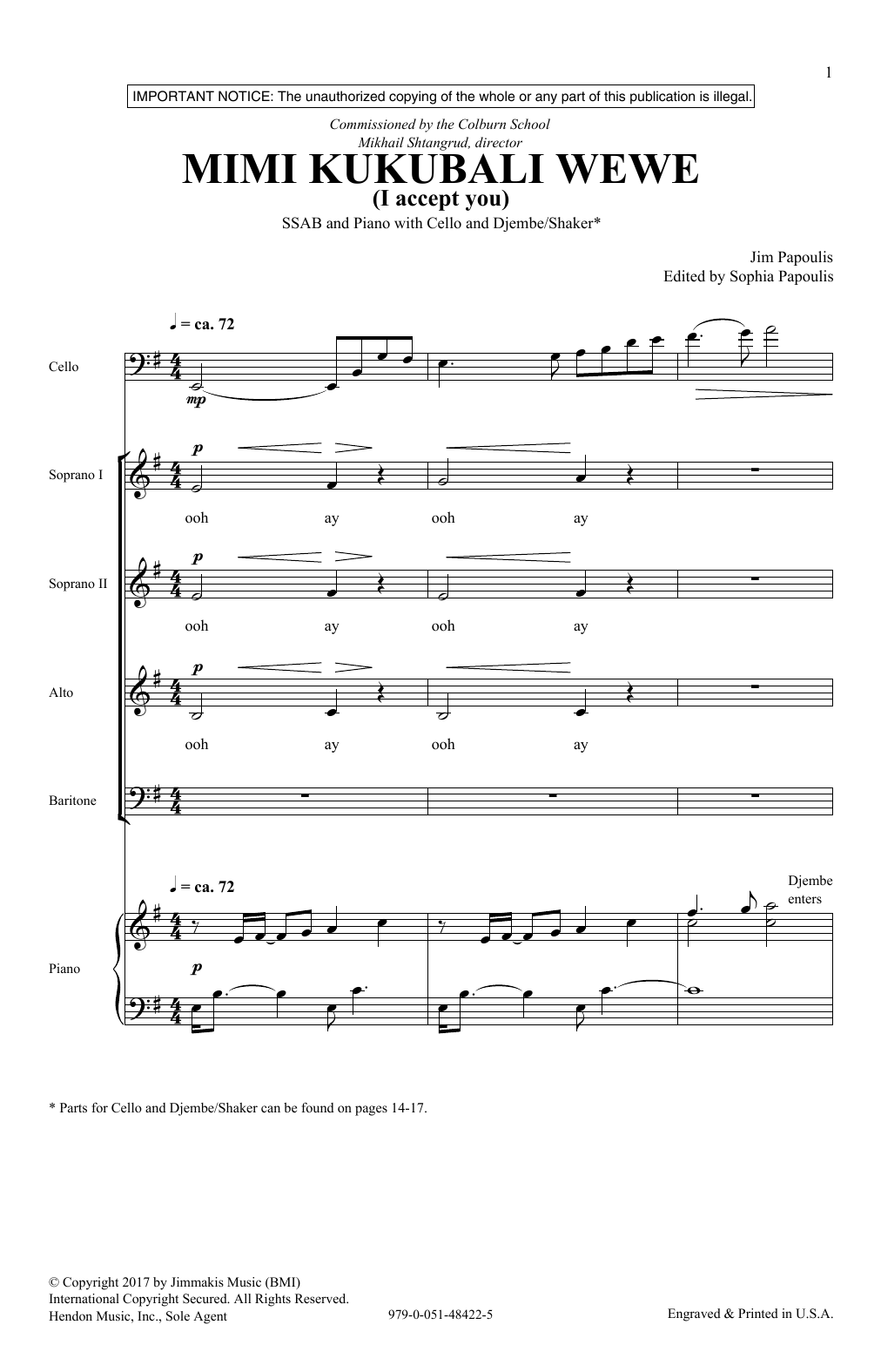 Mimi Kukubali Wewe - SSAB - Sounds of a Better World Series by Jim Papoulis