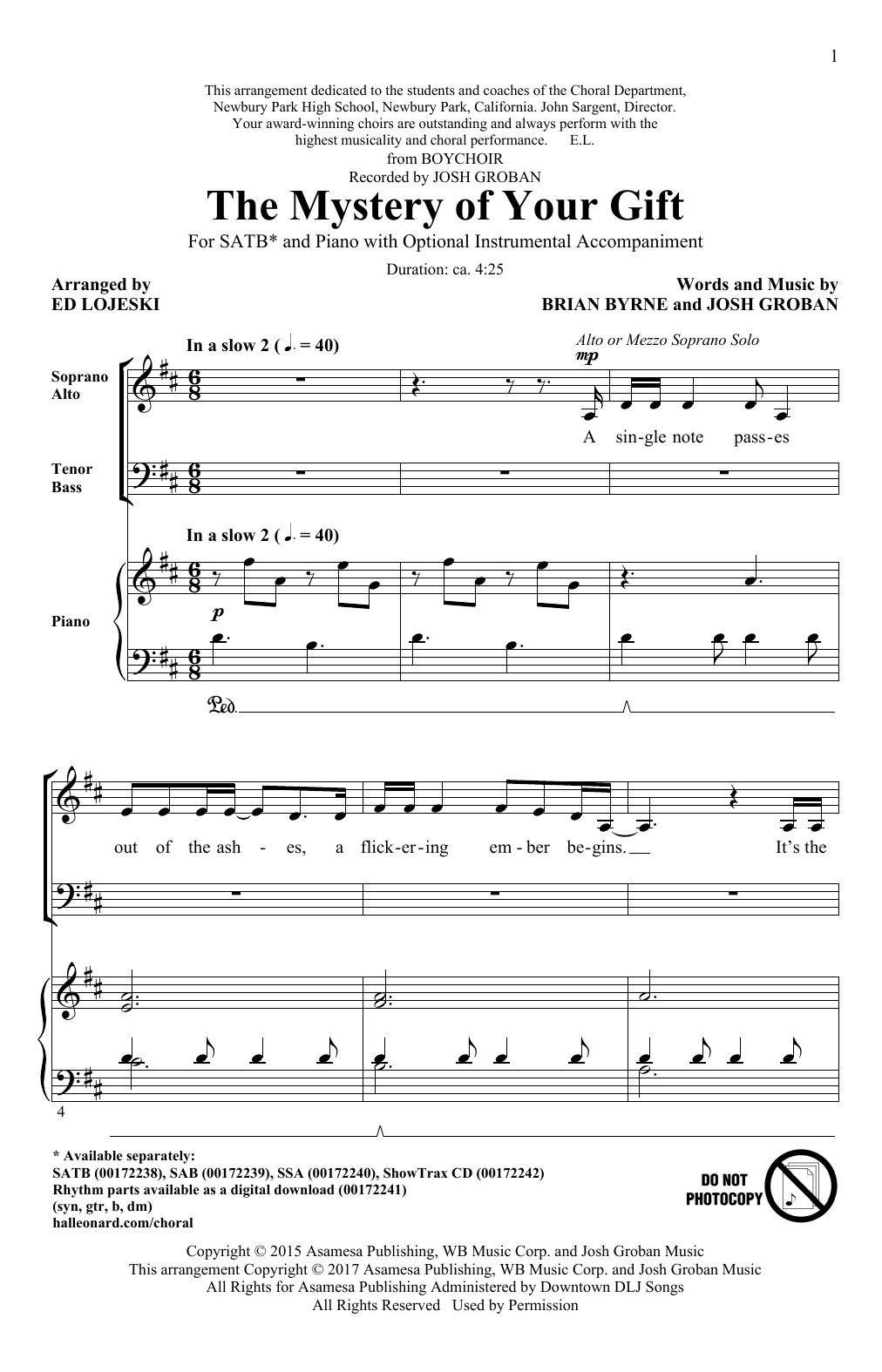 The Mystery Of Your Gift (SATB Choir)