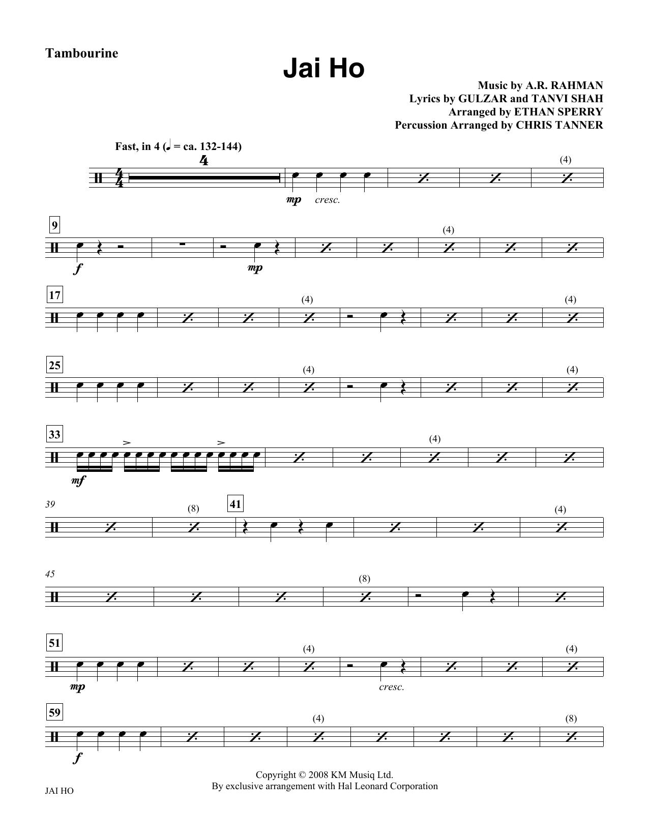 Jai Ho - Tambourine Sheet Music