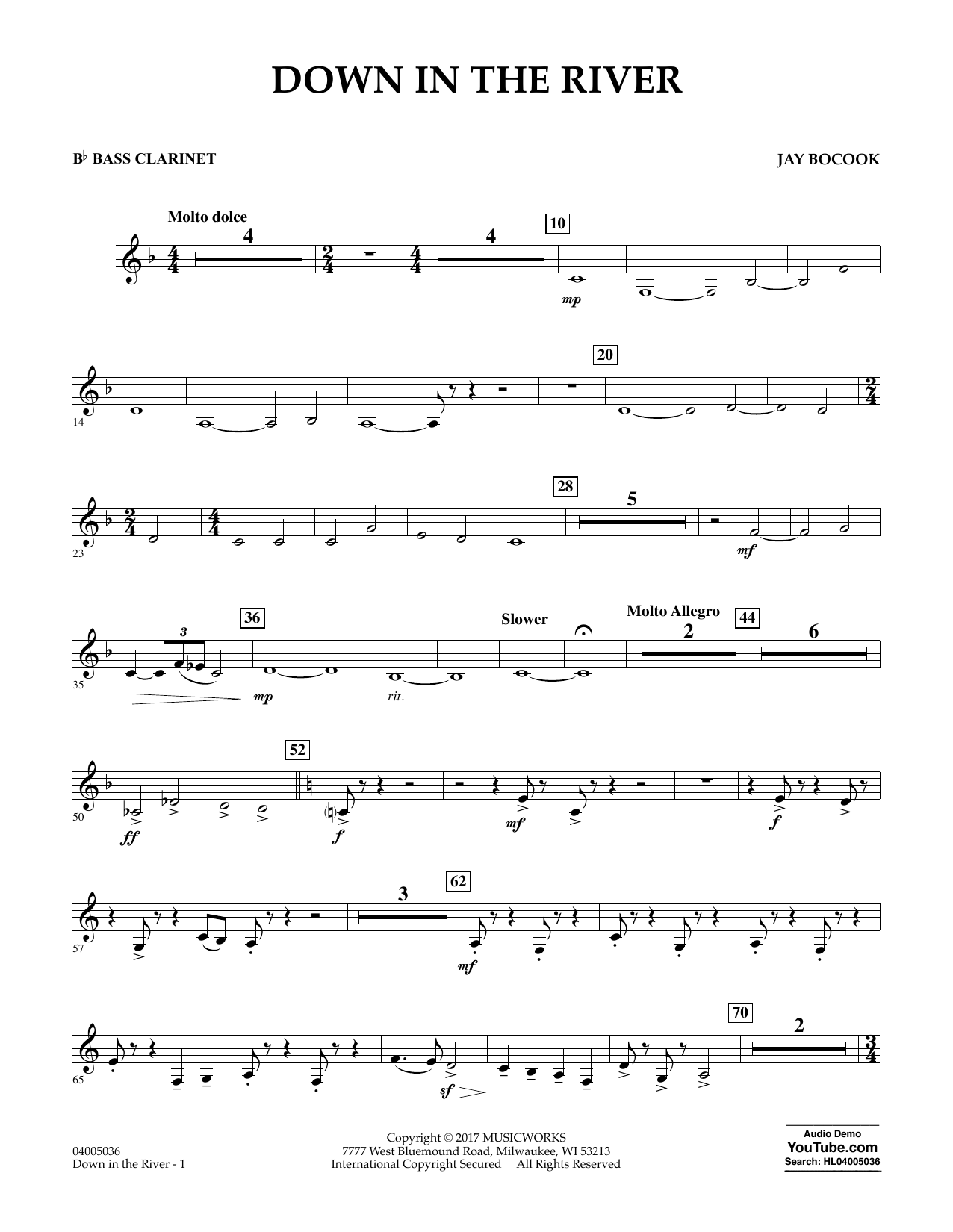 Down in the River - Bb Bass Clarinet Sheet Music