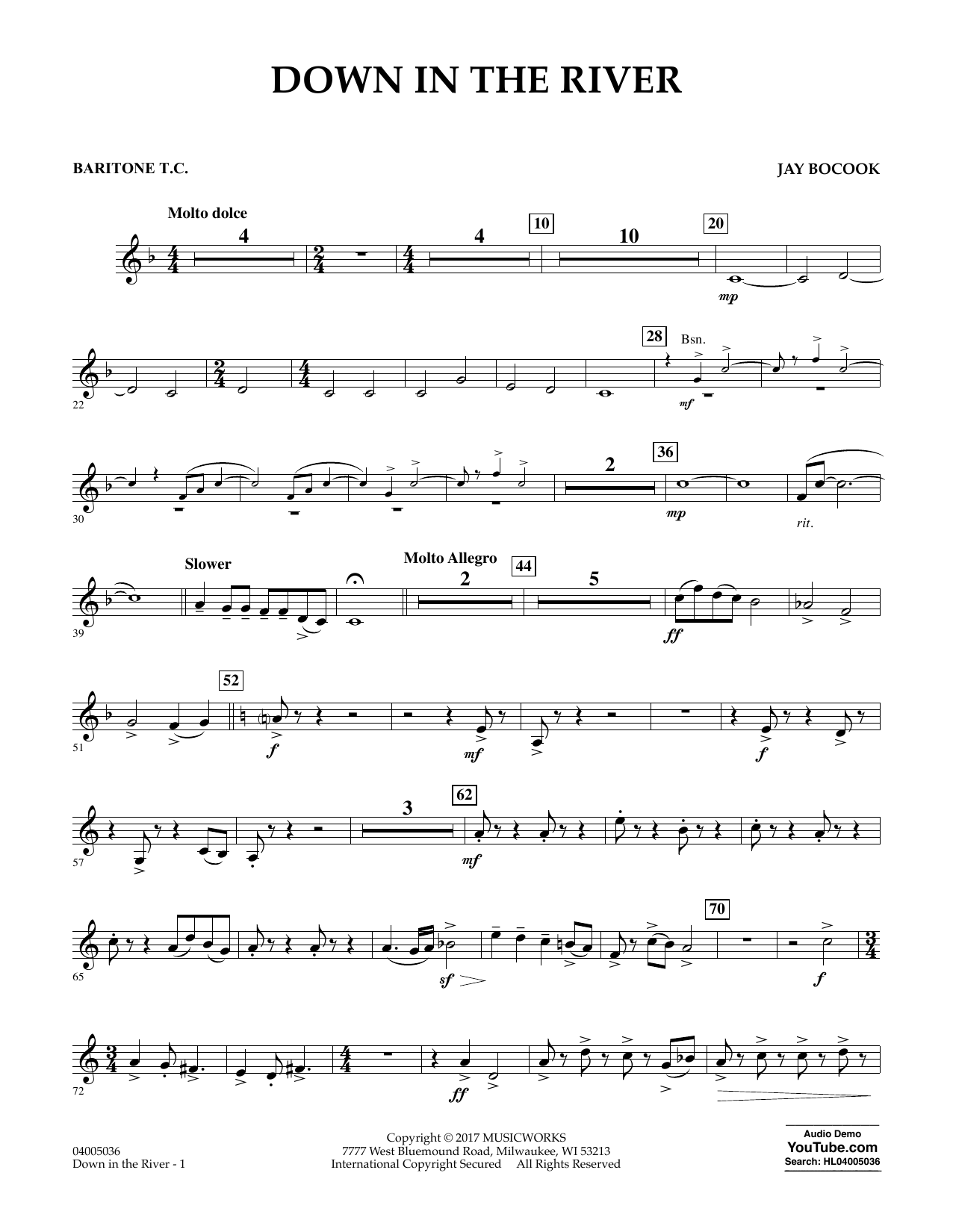 Down in the River - Baritone T.C. Sheet Music
