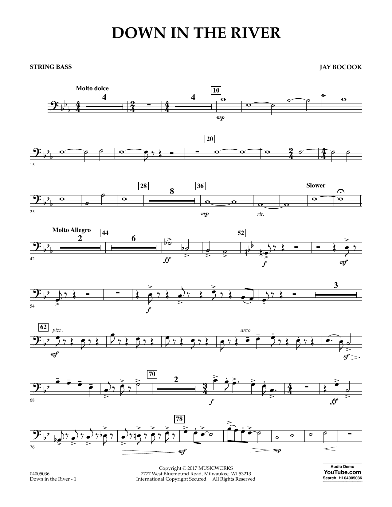 Down in the River - String Bass Sheet Music