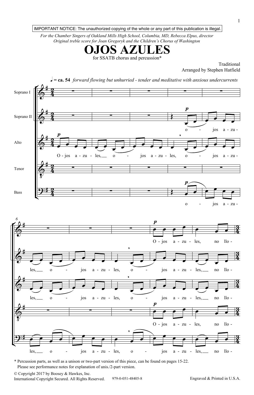 Ojos Azulas (SATB Choir)