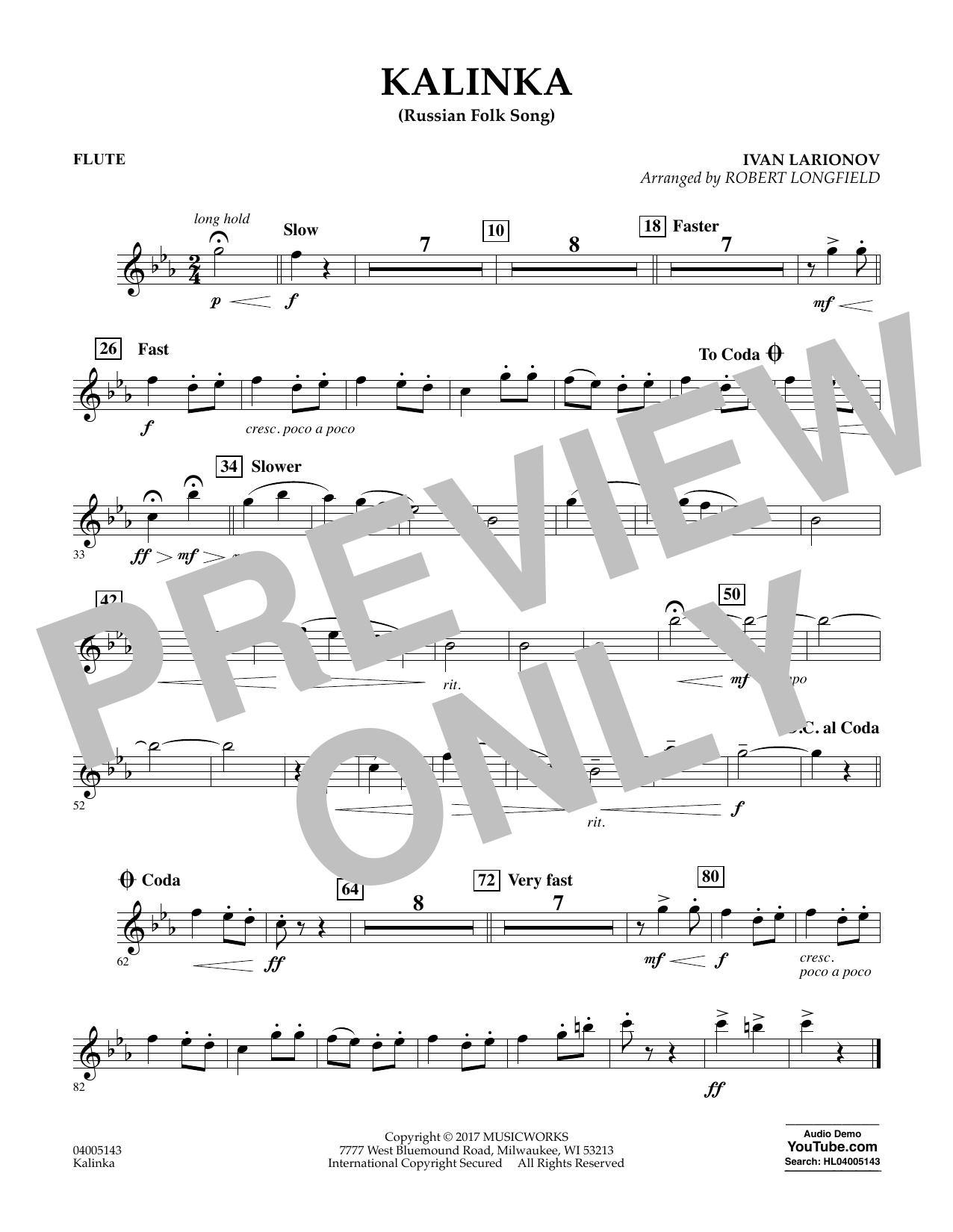 Kalinka (Russian Folk Song) - Flute Sheet Music
