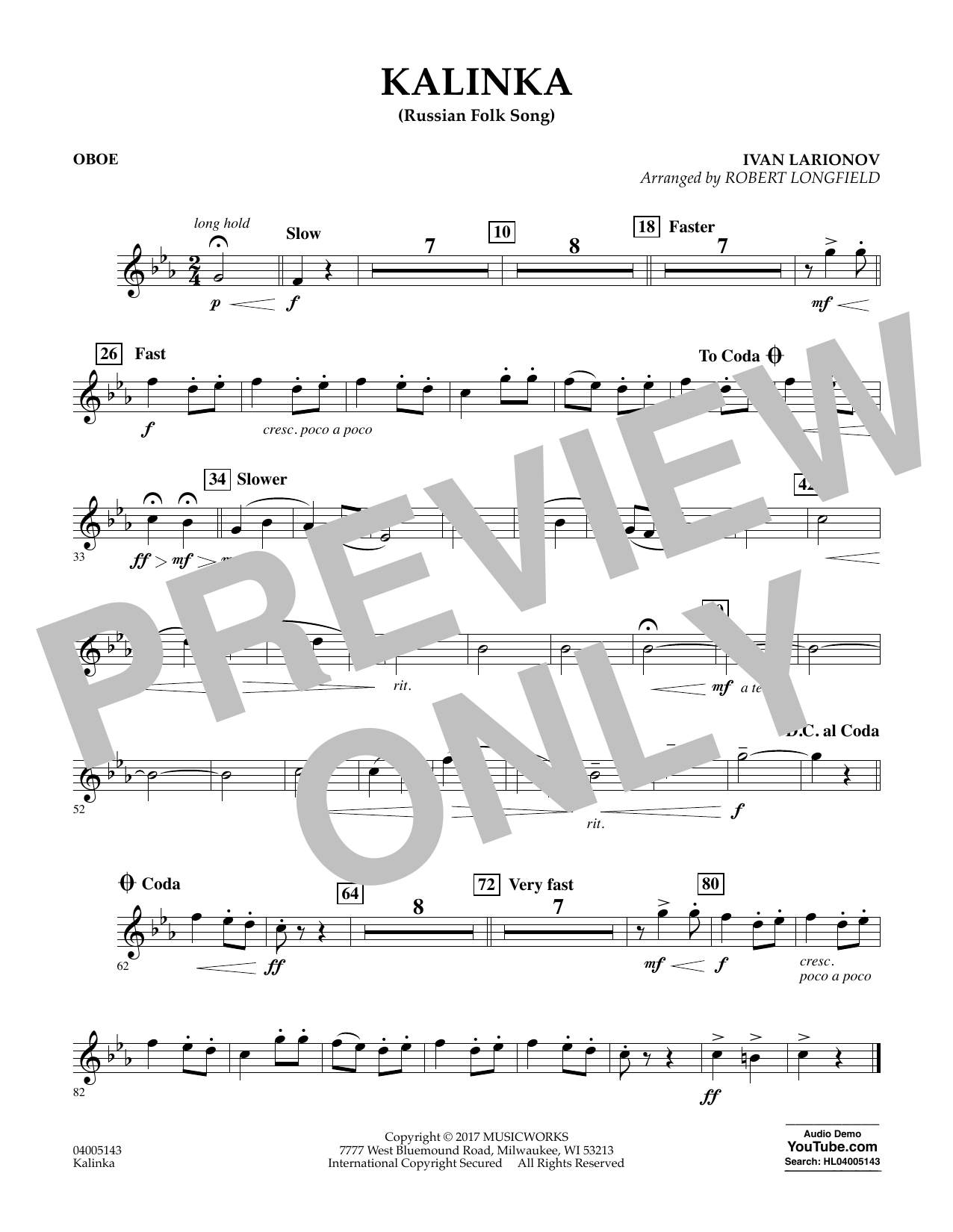 Kalinka (Russian Folk Song) - Oboe Sheet Music