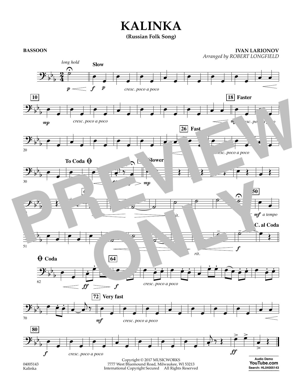 Kalinka (Russian Folk Song) - Bassoon Sheet Music