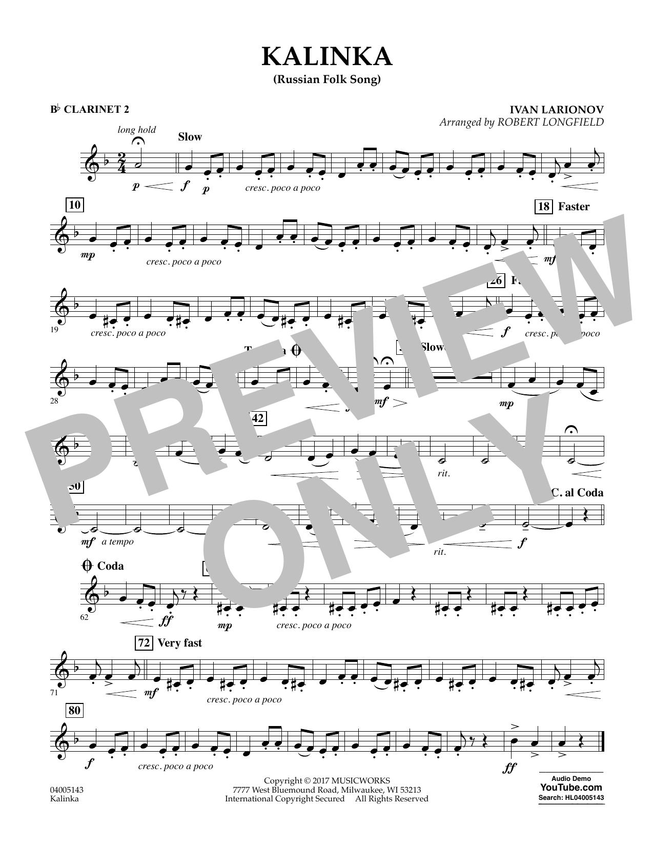 Kalinka (Russian Folk Song) - Bb Clarinet 2 Sheet Music