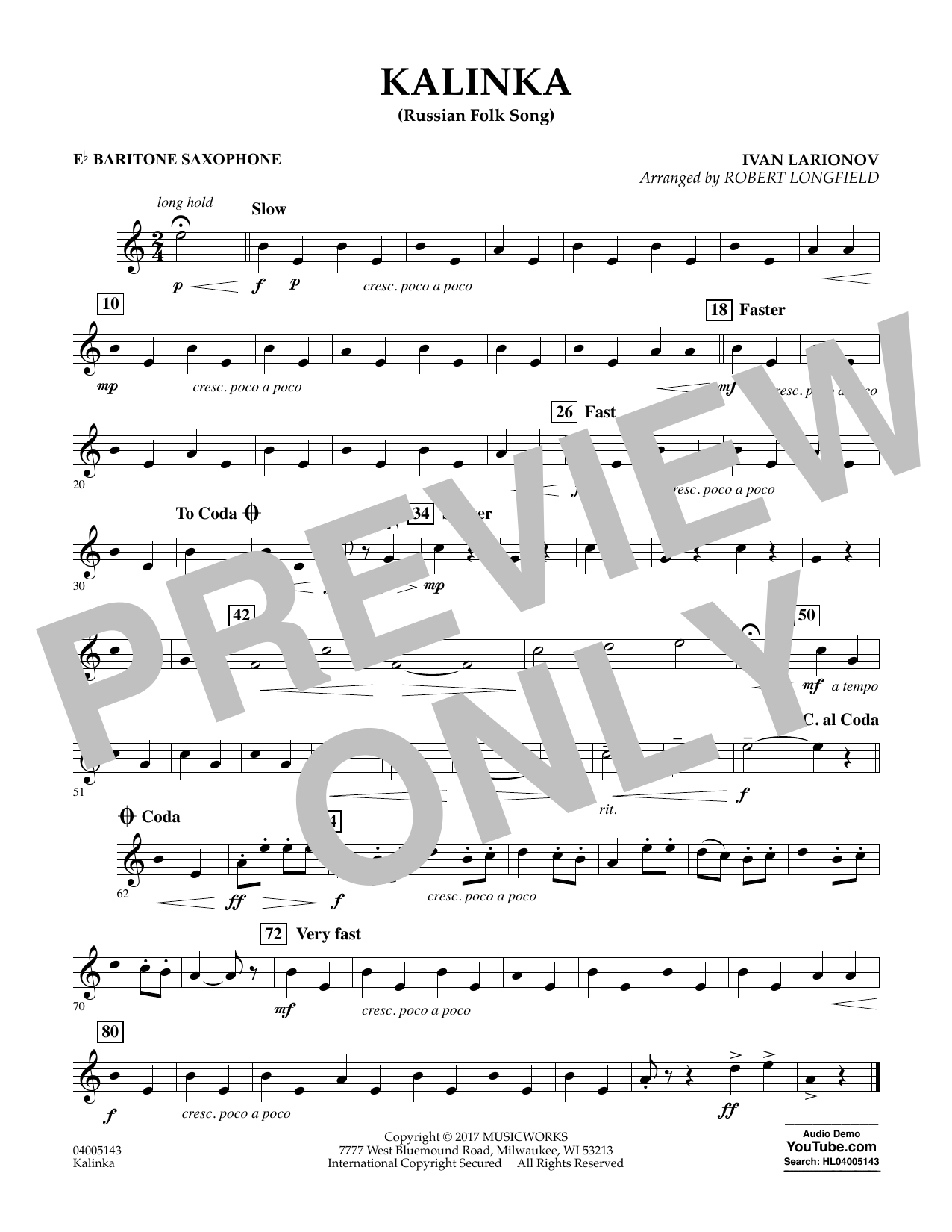 Kalinka (Russian Folk Song) - Eb Baritone Saxophone Sheet Music