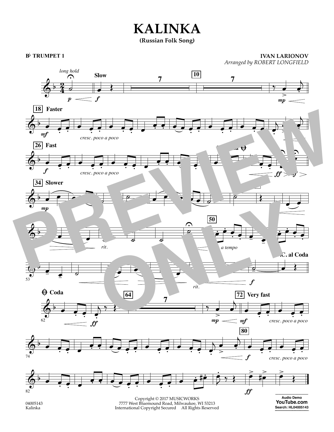 Kalinka (Russian Folk Song) - Bb Trumpet 1 Sheet Music