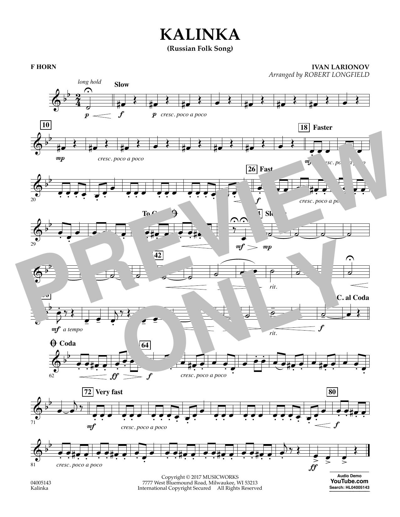 Kalinka (Russian Folk Song) - F Horn (Concert Band)