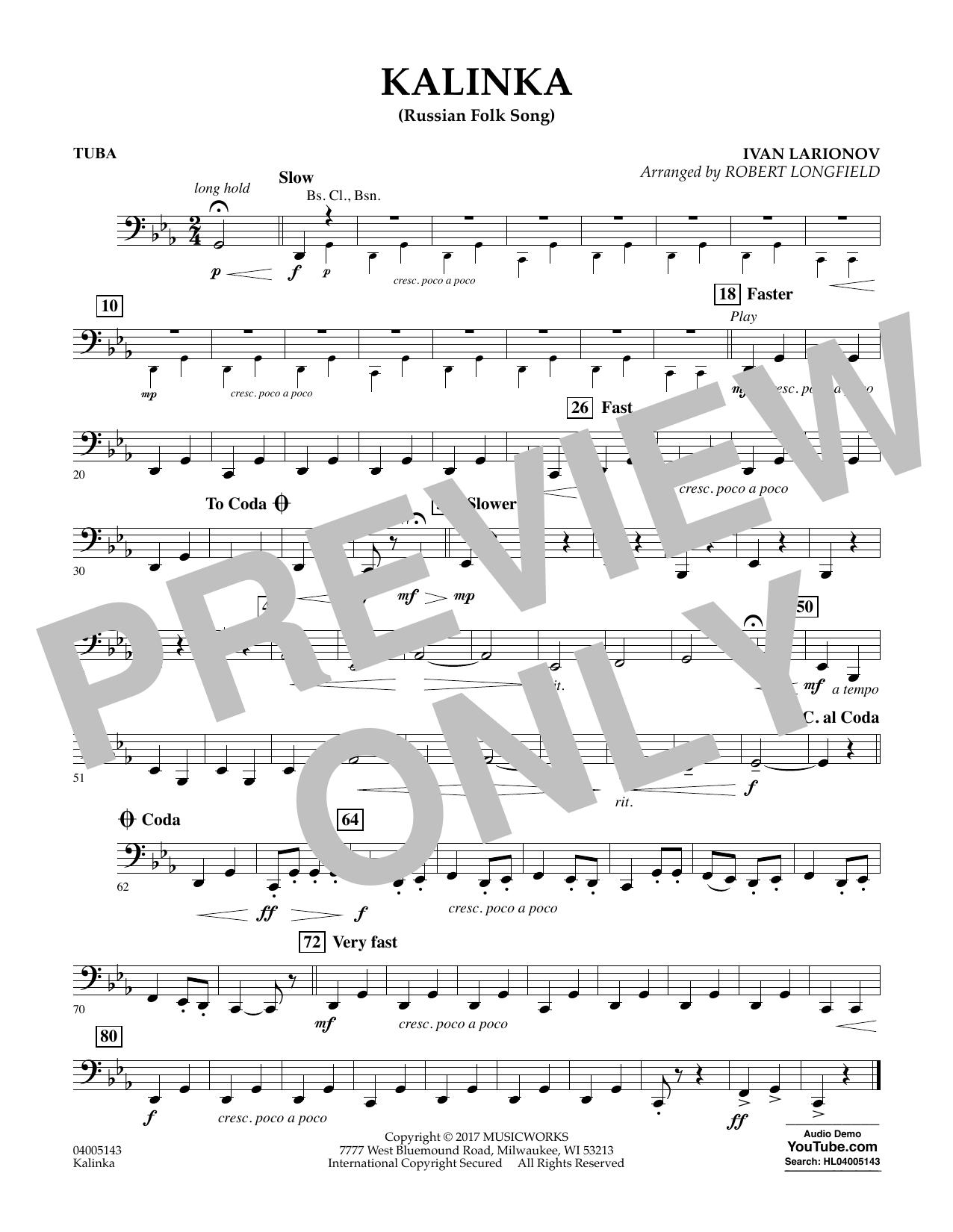 Kalinka (Russian Folk Song) - Tuba Sheet Music