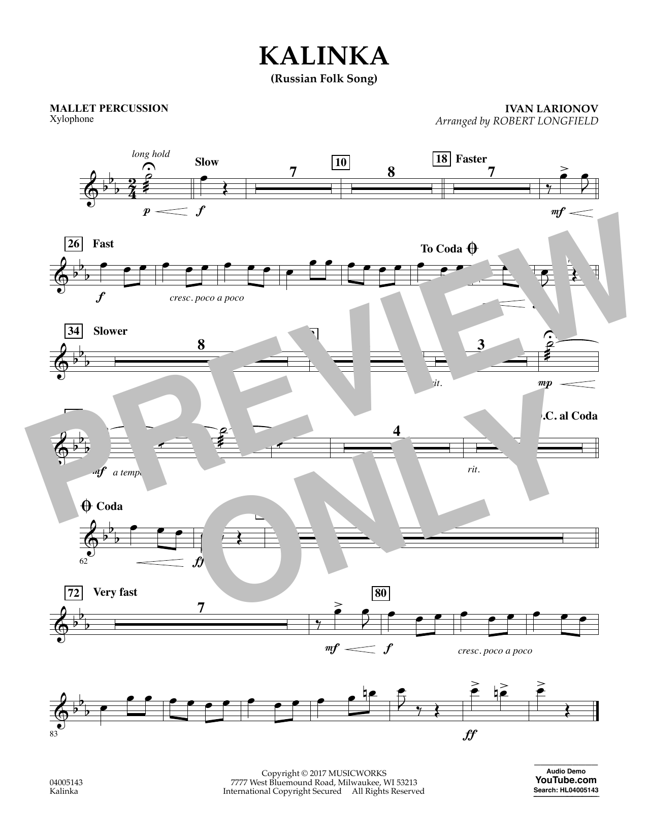 Kalinka (Russian Folk Song) - Mallet Percussion Sheet Music