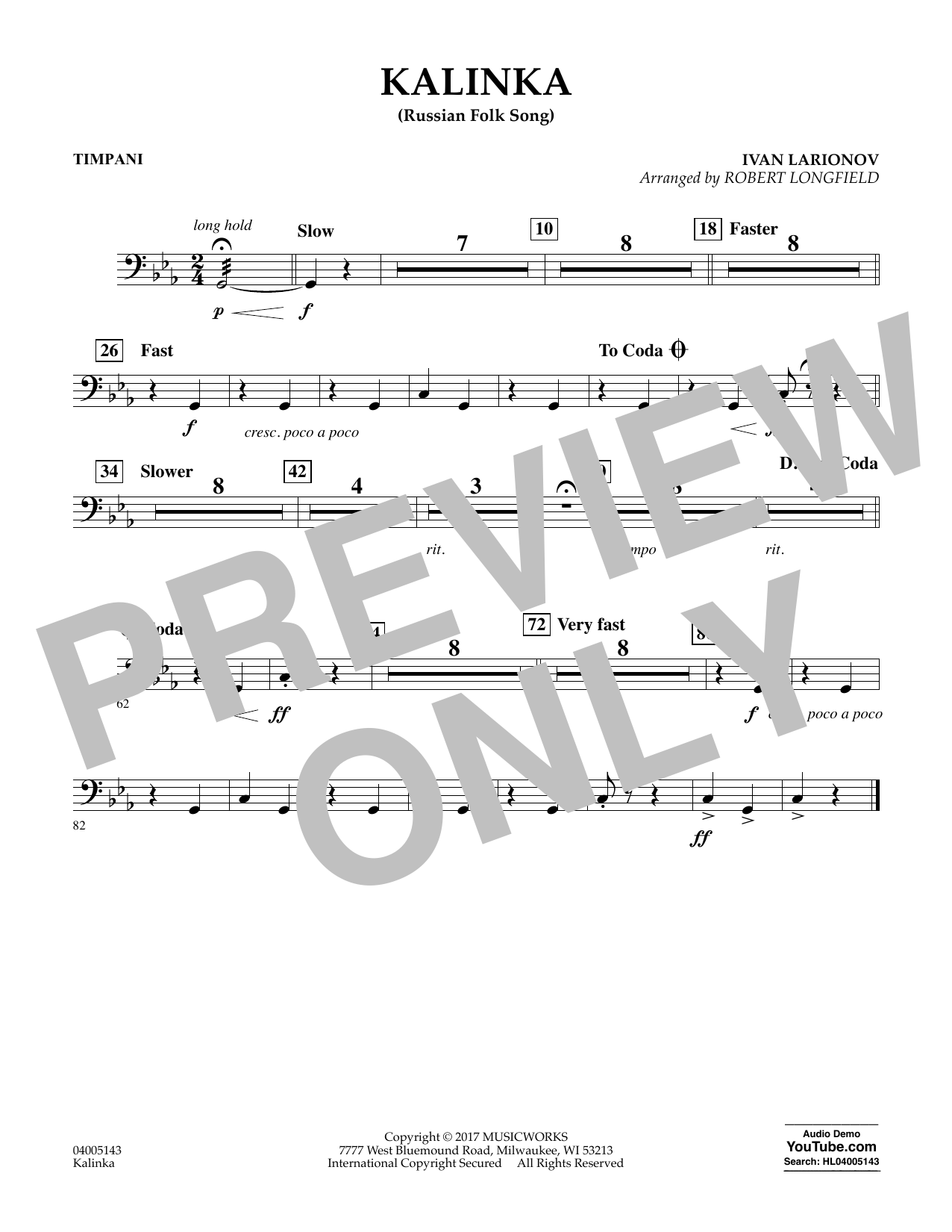 Kalinka (Russian Folk Song) - Timpani Sheet Music