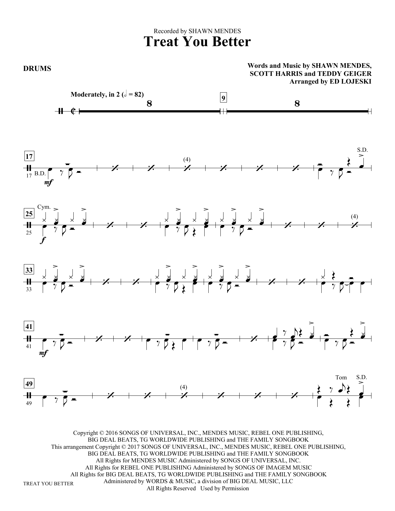 Treat You Better - Drums Sheet Music