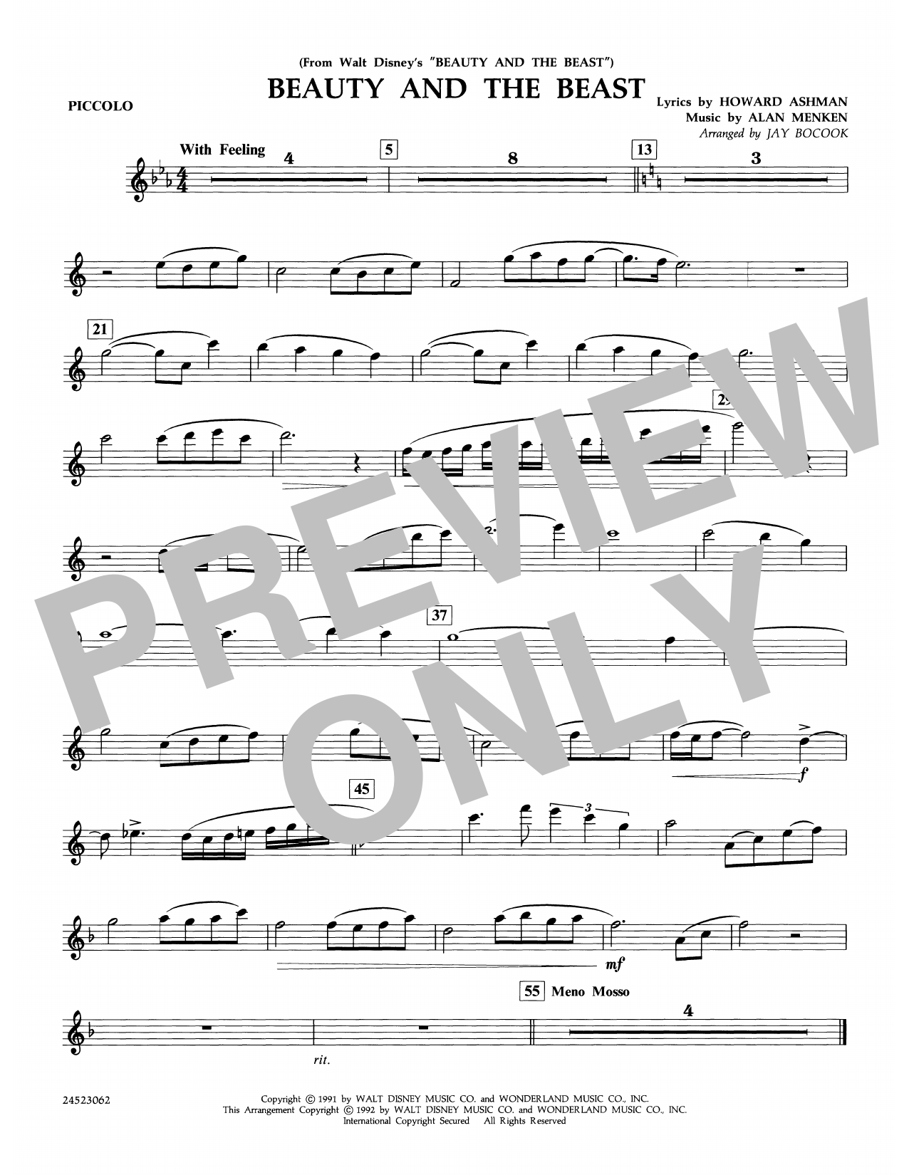 Beauty and the Beast - Piccolo Sheet Music