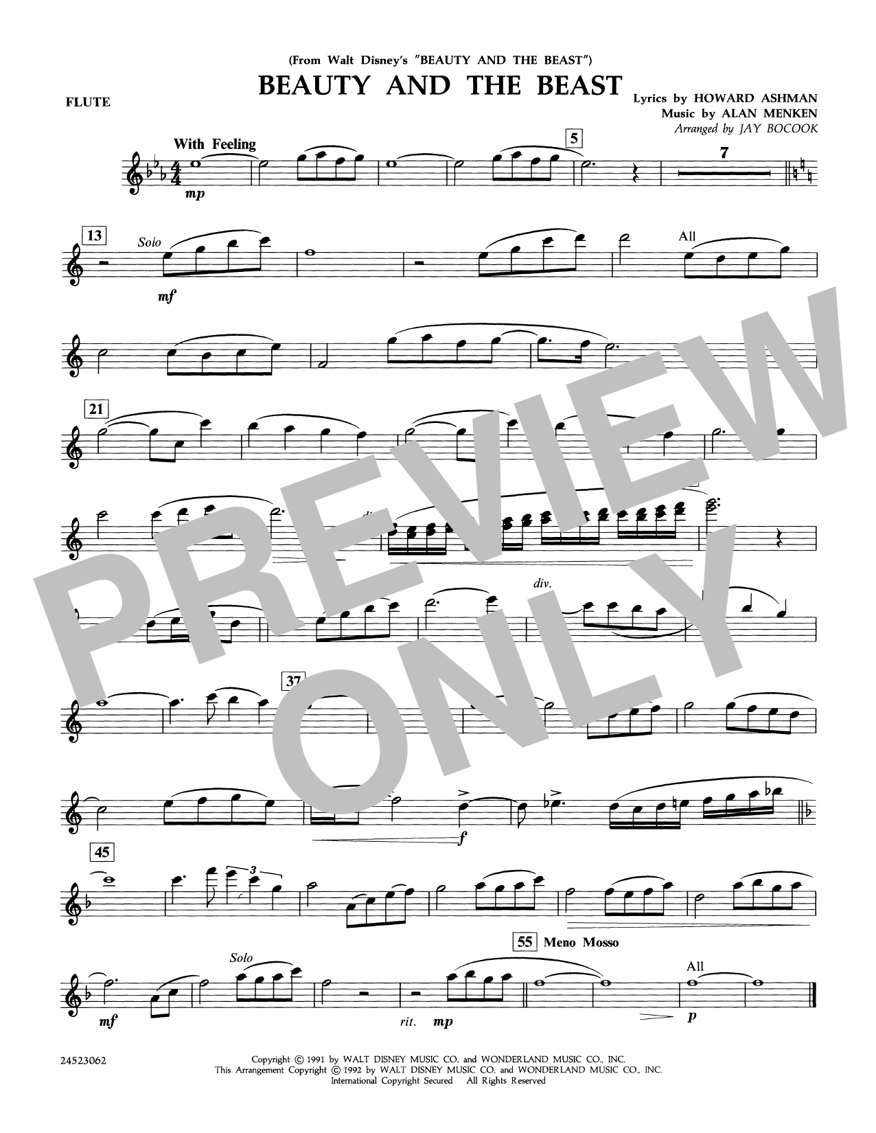 Beauty and the Beast - Flute Sheet Music