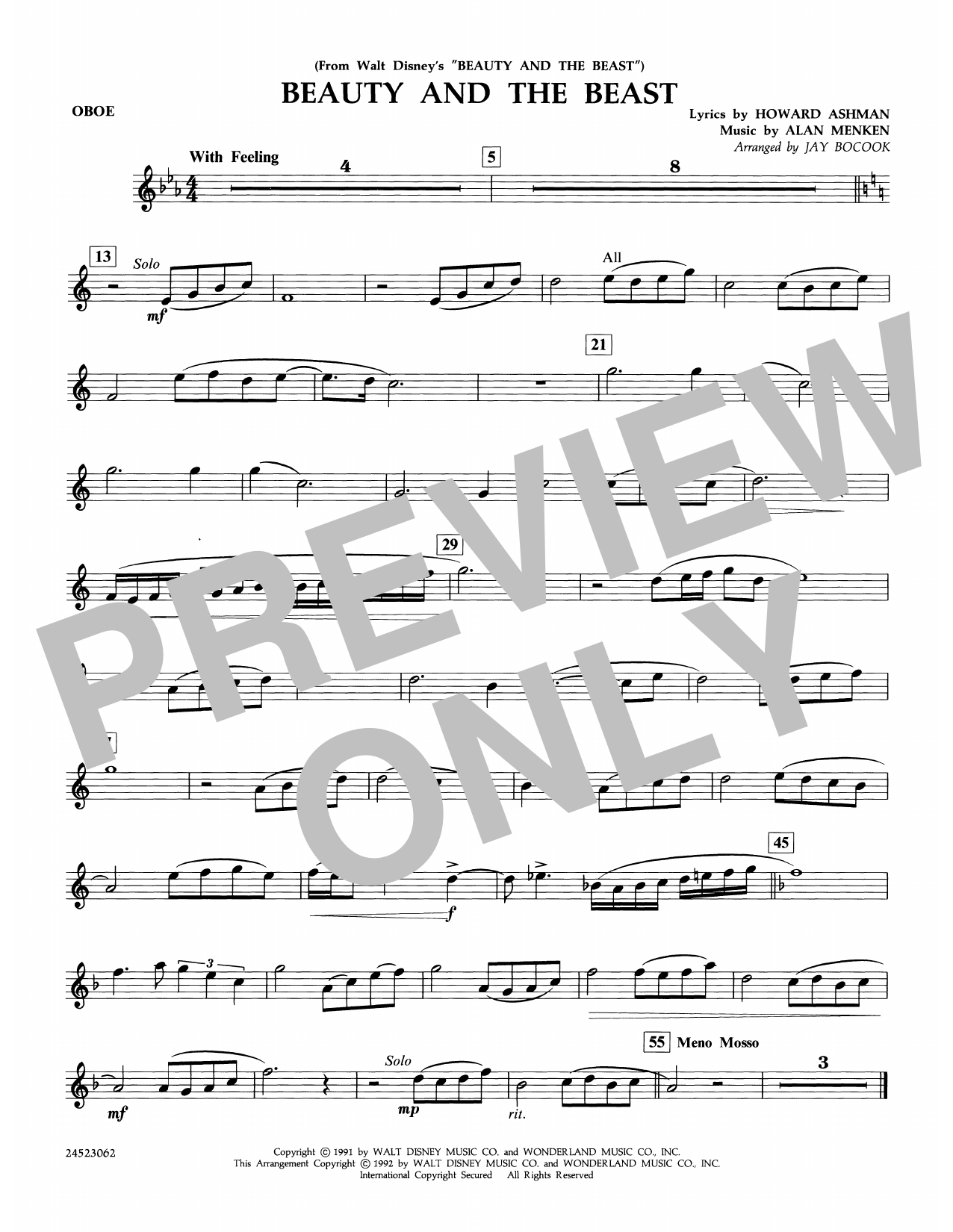 Beauty and the Beast - Oboe Sheet Music