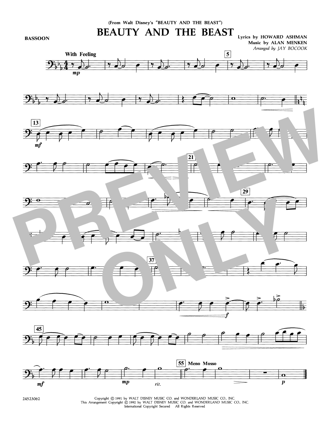 Beauty and the Beast - Bassoon Partition Digitale