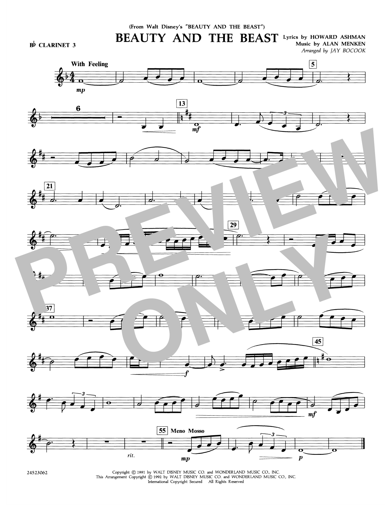 Beauty and the Beast - Bb Clarinet 3 Sheet Music