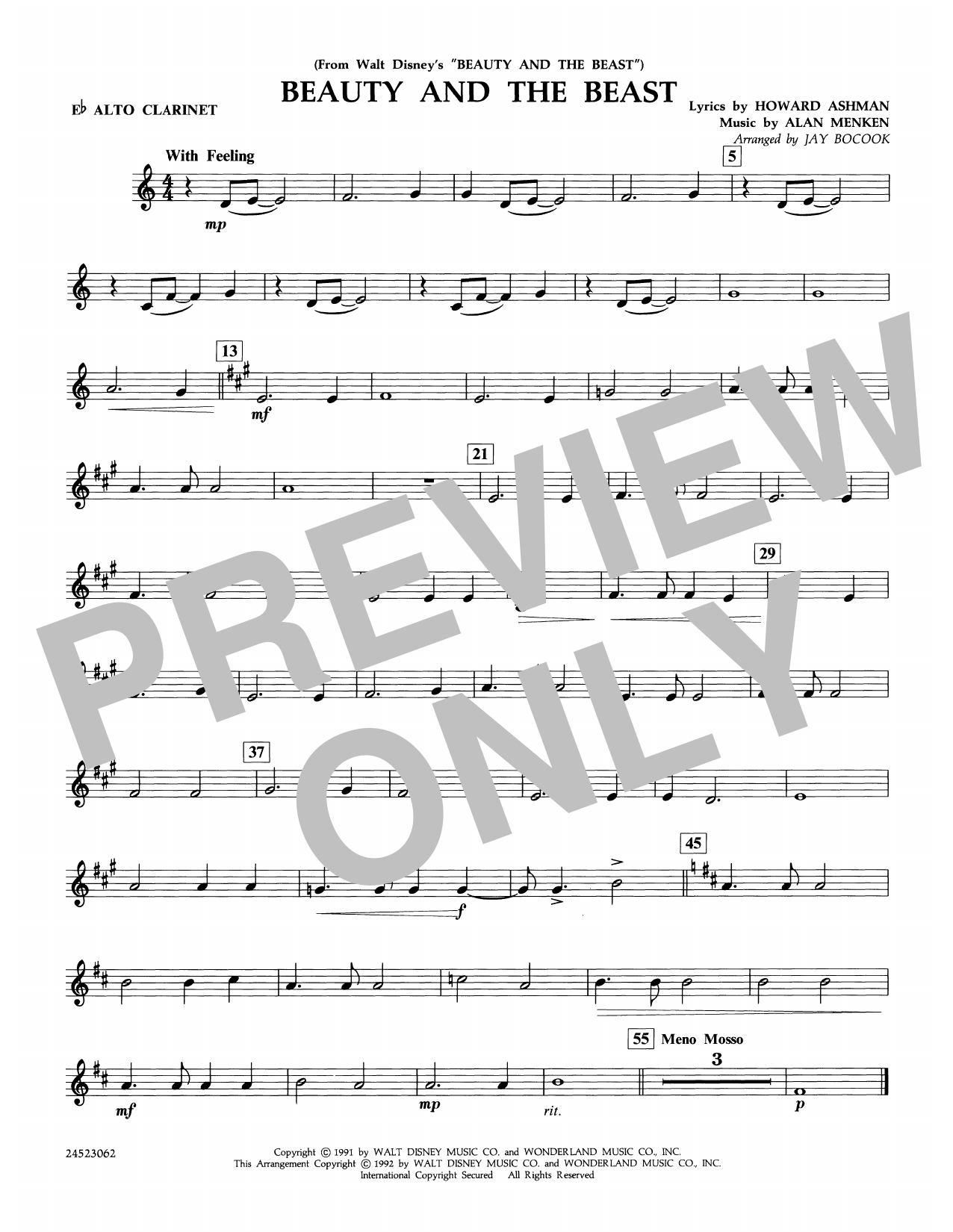 Beauty and the Beast - Eb Alto Clarinet Sheet Music
