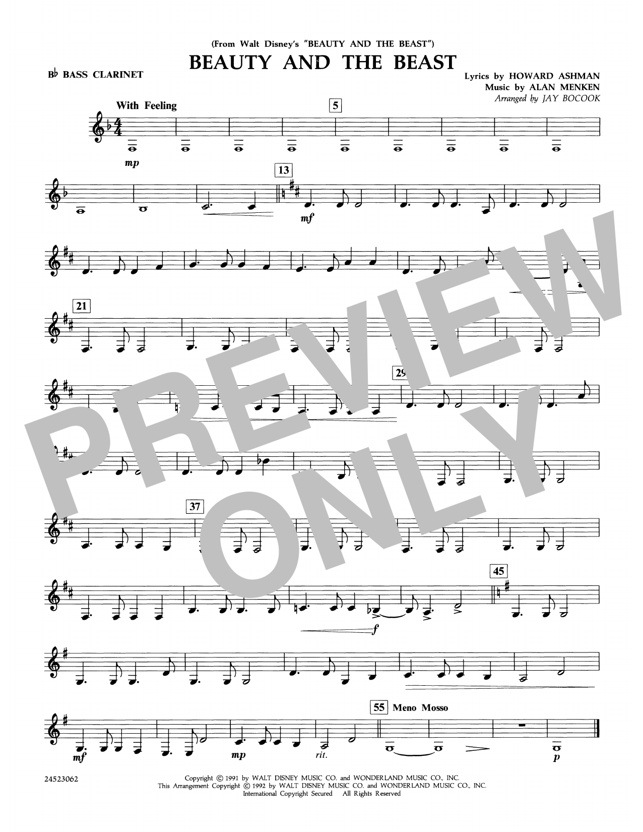 Beauty and the Beast - Bb Bass Clarinet Sheet Music