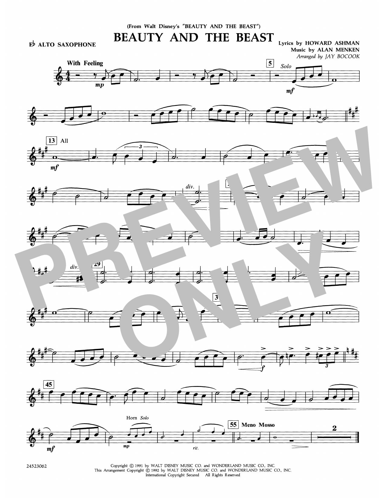 Beauty and the Beast - Eb Alto Sax Sheet Music