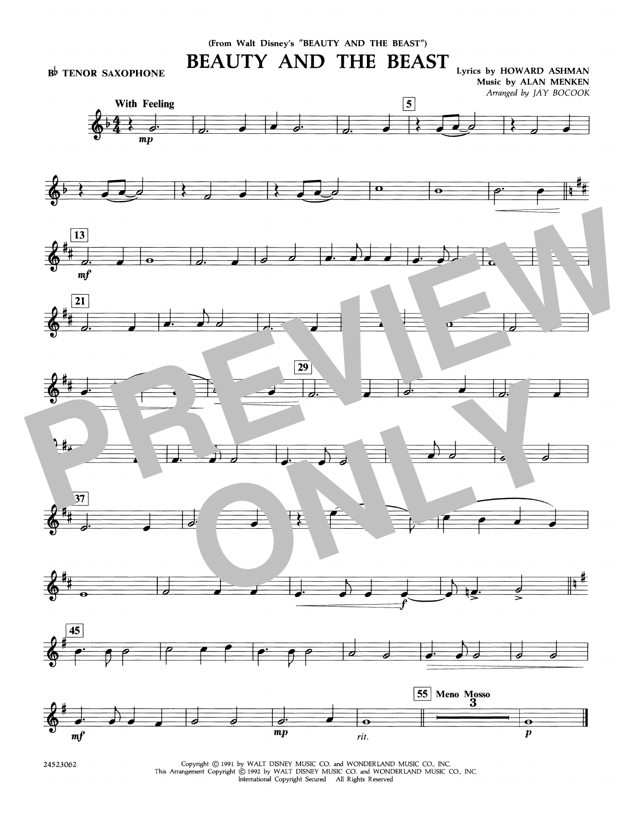 Beauty and the Beast - Bb Tenor Saxophone Sheet Music