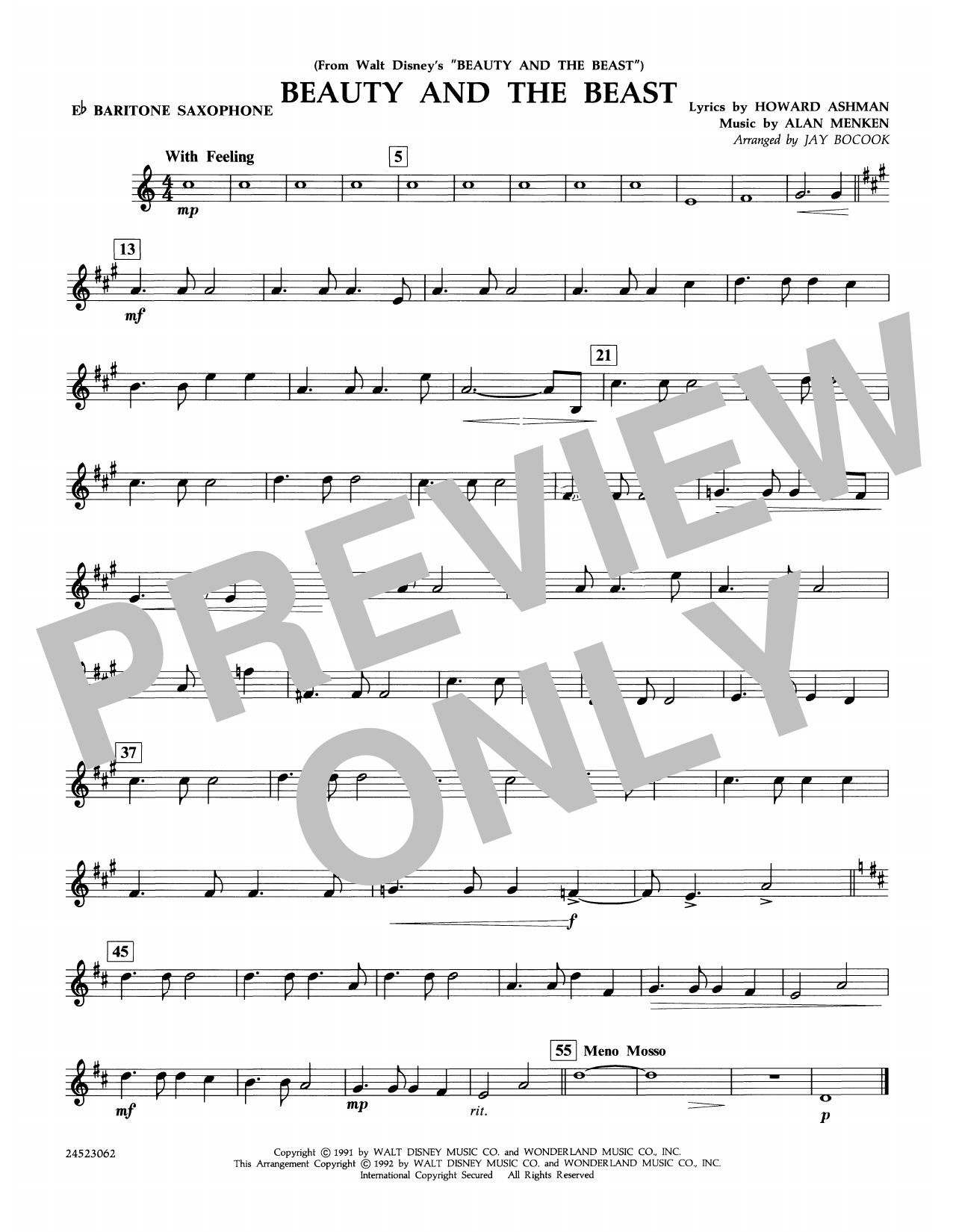 Beauty and the Beast - Eb Baritone Saxophone Partition Digitale