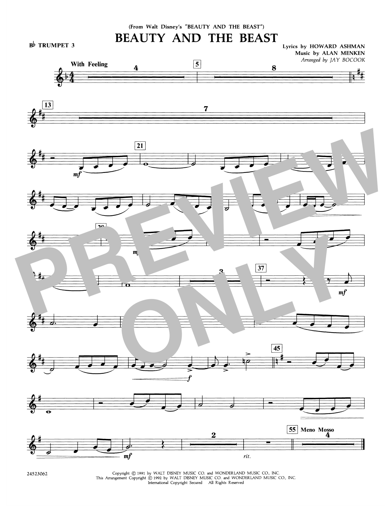 Beauty and the Beast - Bb Trumpet 3 Partition Digitale