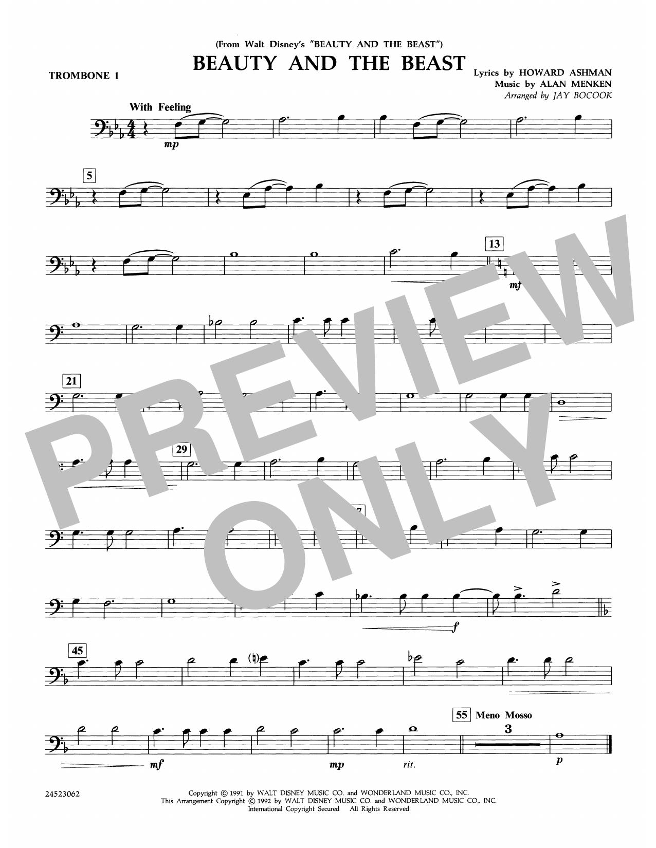 Beauty and the Beast - Trombone 1 Sheet Music