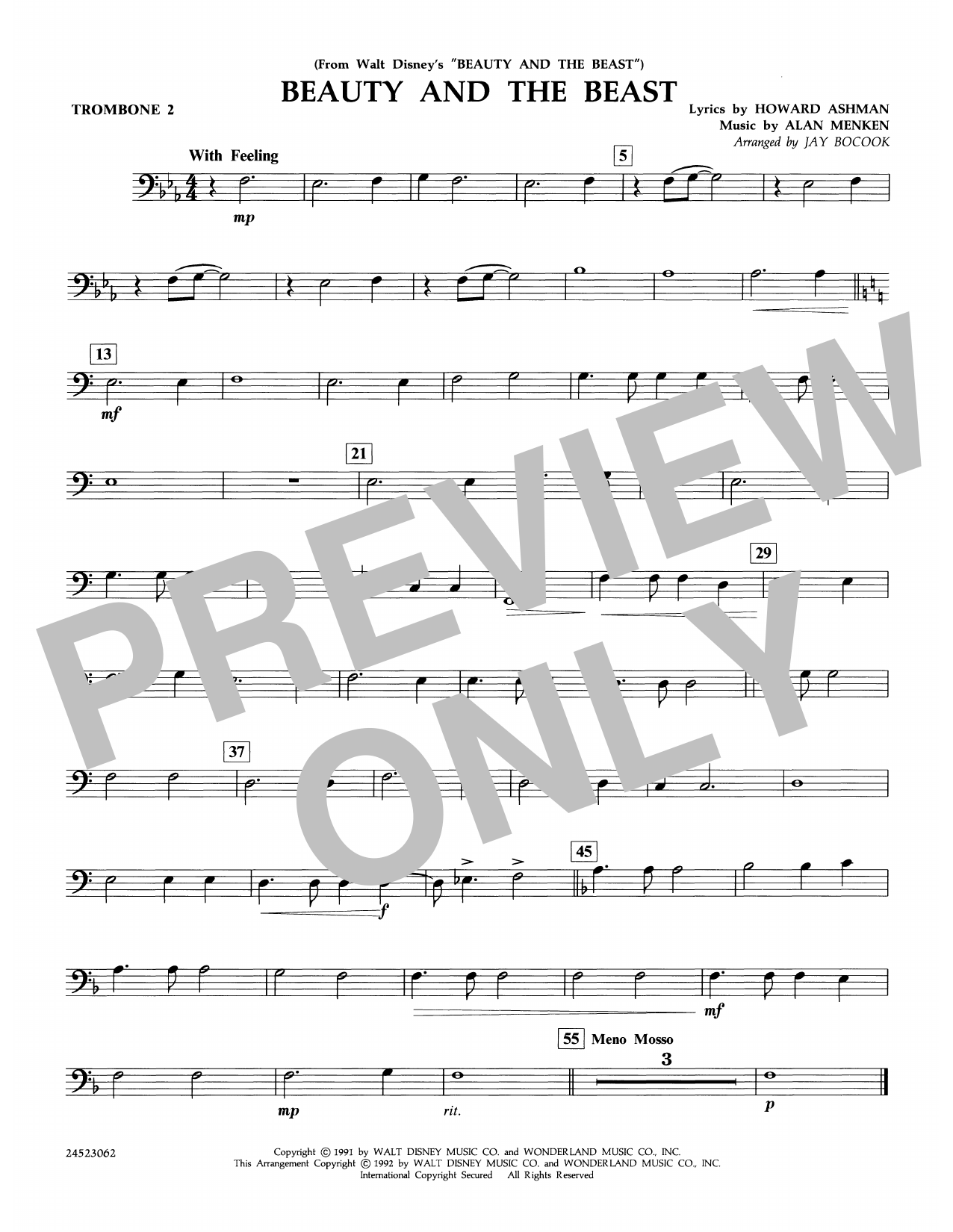 Beauty and the Beast - Trombone 2 Sheet Music