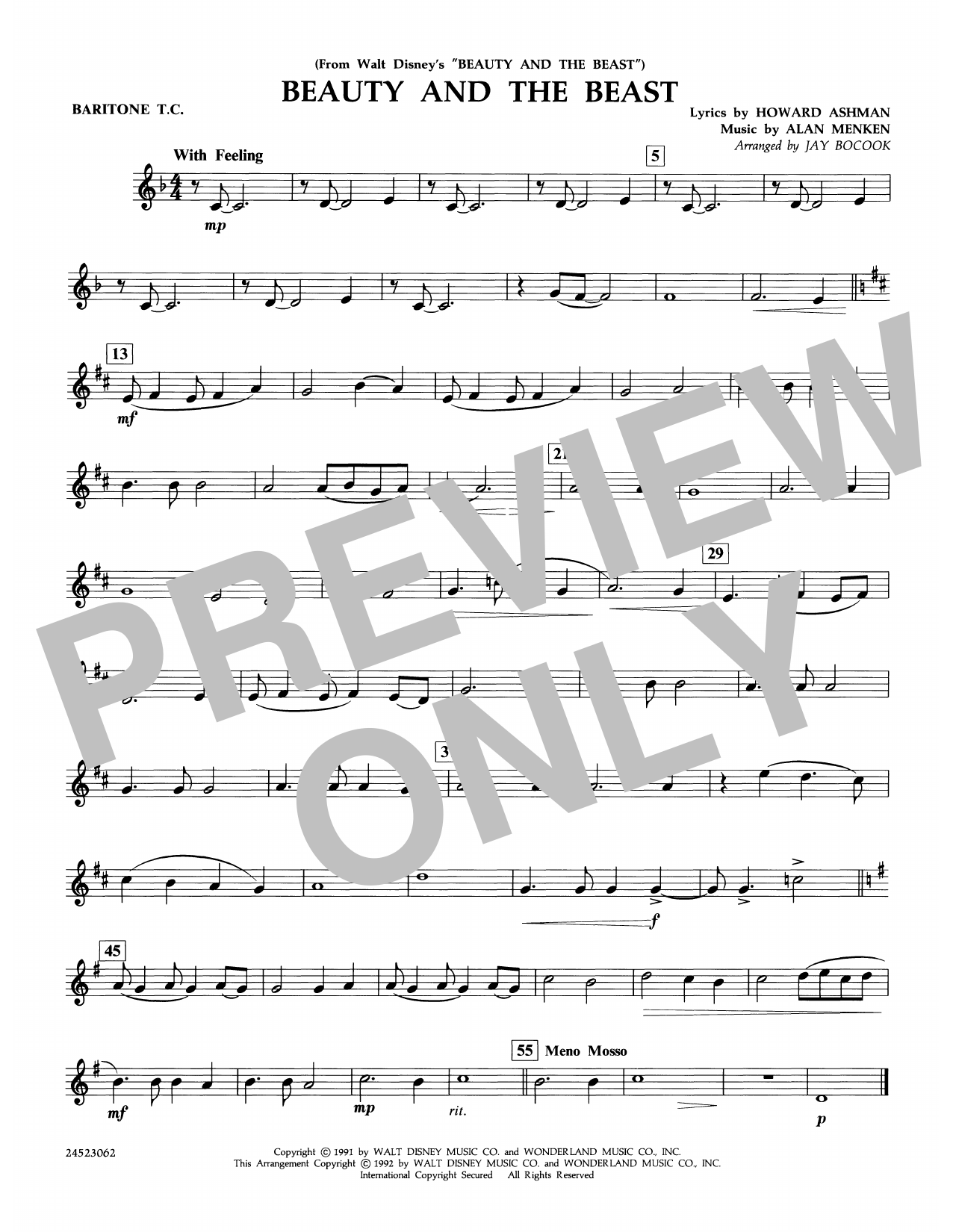Beauty and the Beast - Baritone T.C. Sheet Music