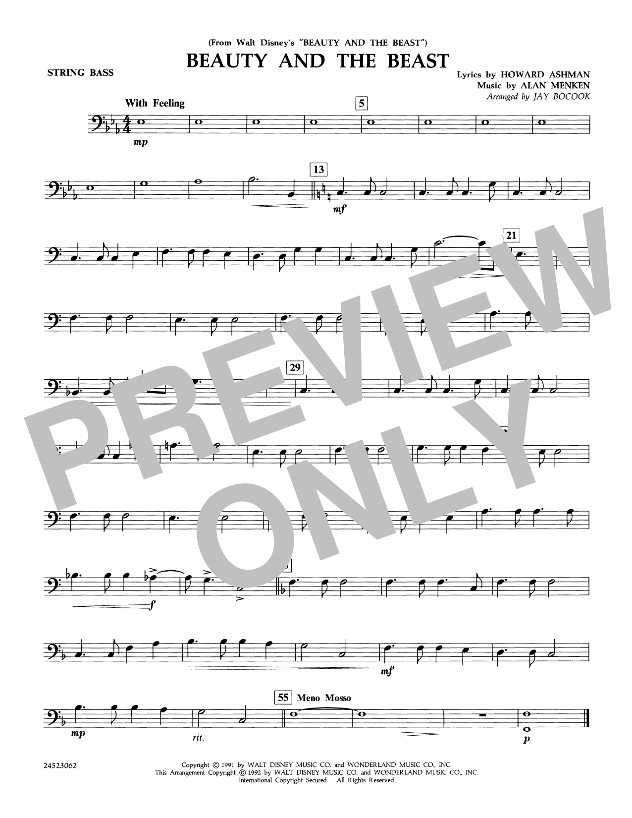Beauty and the Beast - String Bass Sheet Music