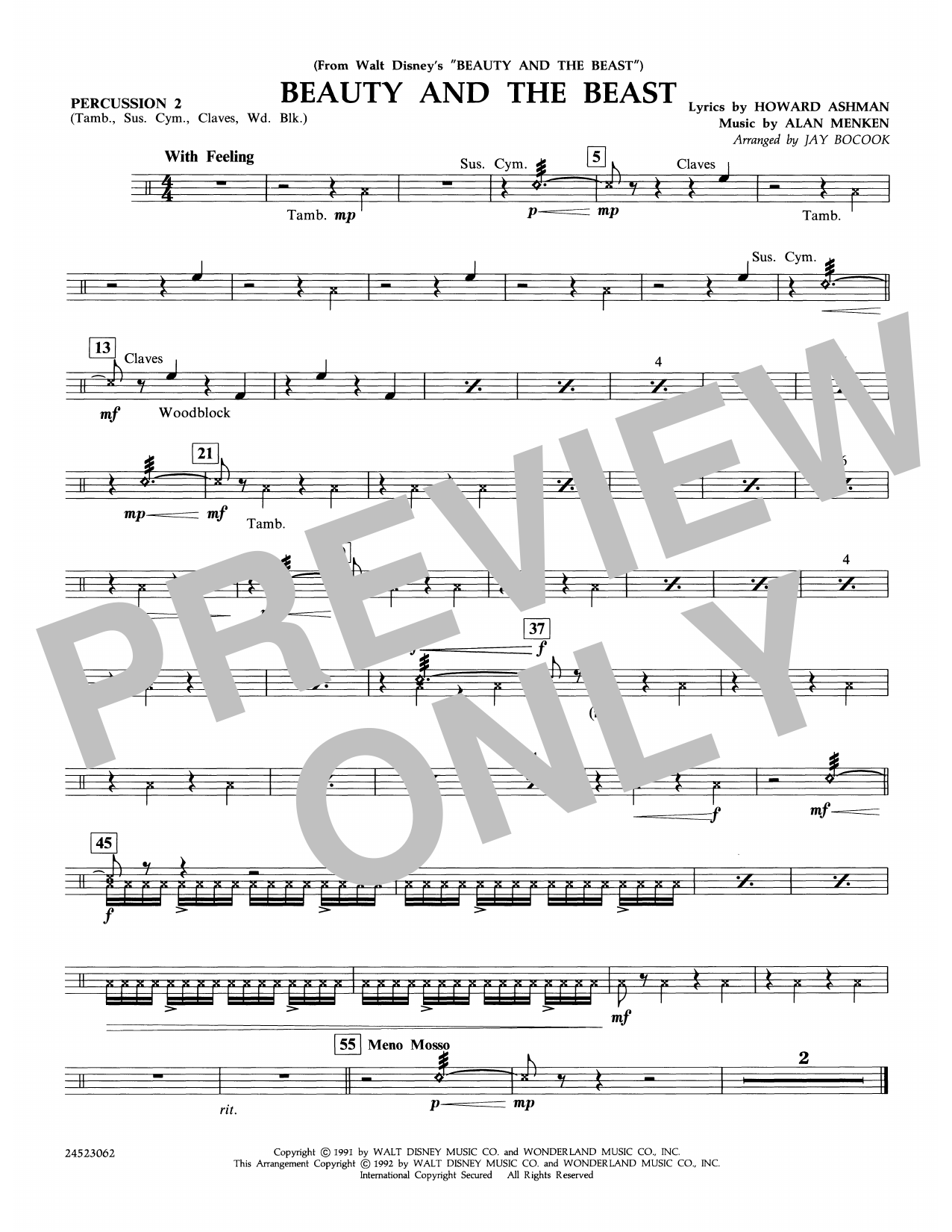 Beauty and the Beast - Percussion 2 Digitale Noten
