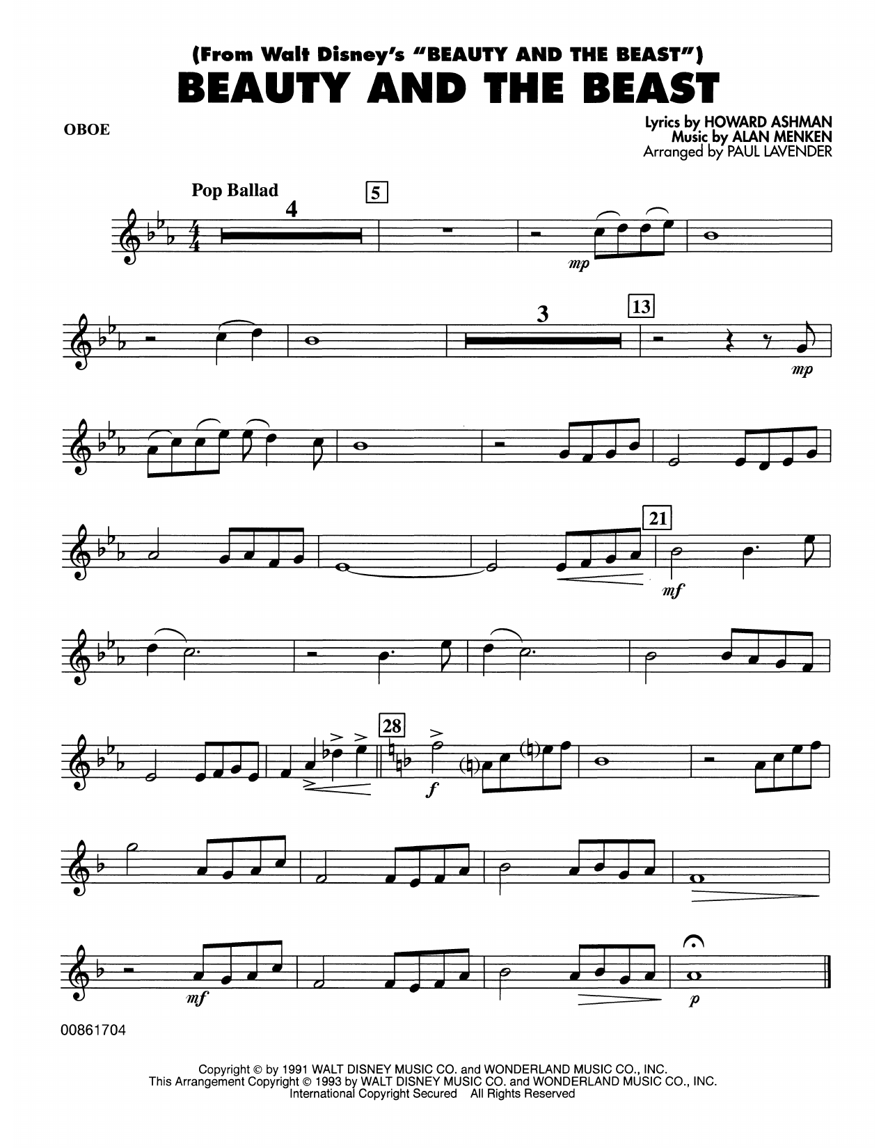 Beauty and the Beast - Oboe Partition Digitale
