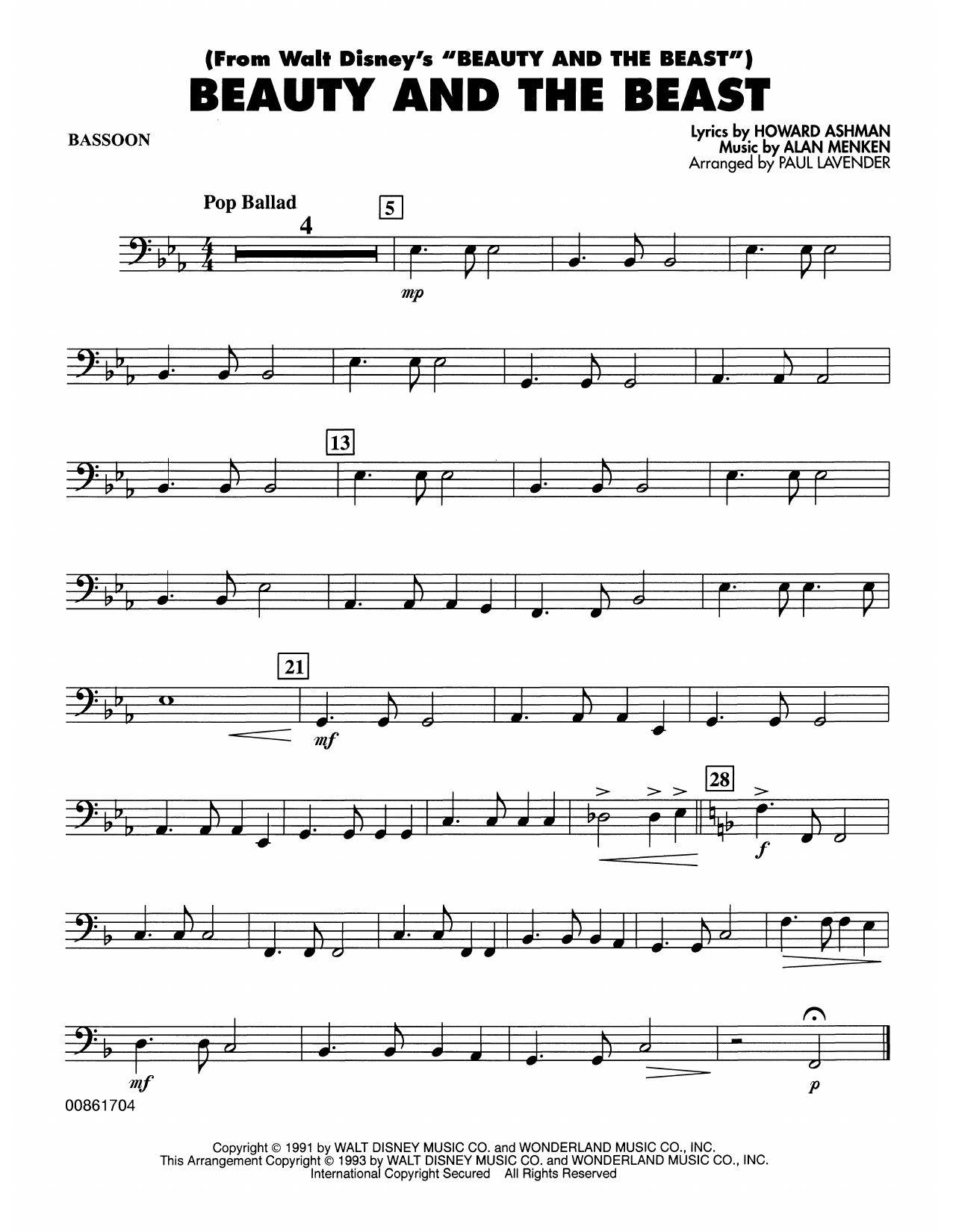Beauty and the Beast - Bassoon Sheet Music