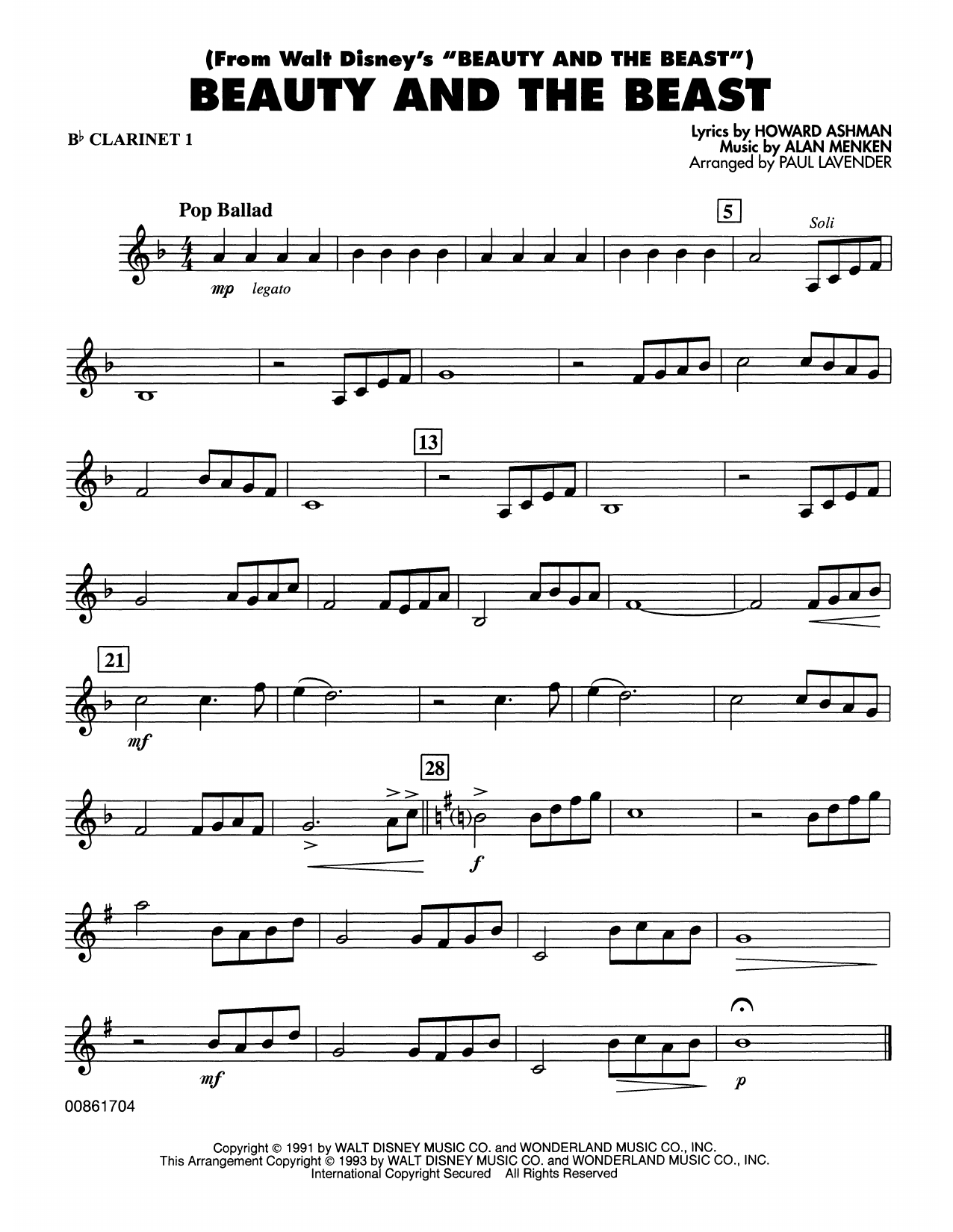 Beauty and the Beast - Bb Clarinet 1 Sheet Music