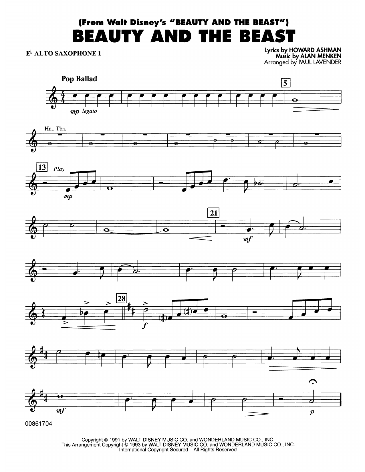 Beauty and the Beast - Eb Alto Sax 1 Sheet Music