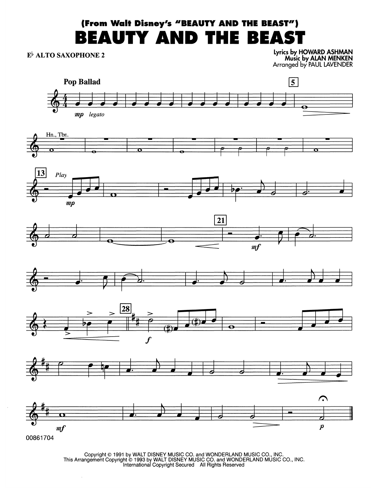 Beauty and the Beast - Eb Alto Sax 2 Sheet Music
