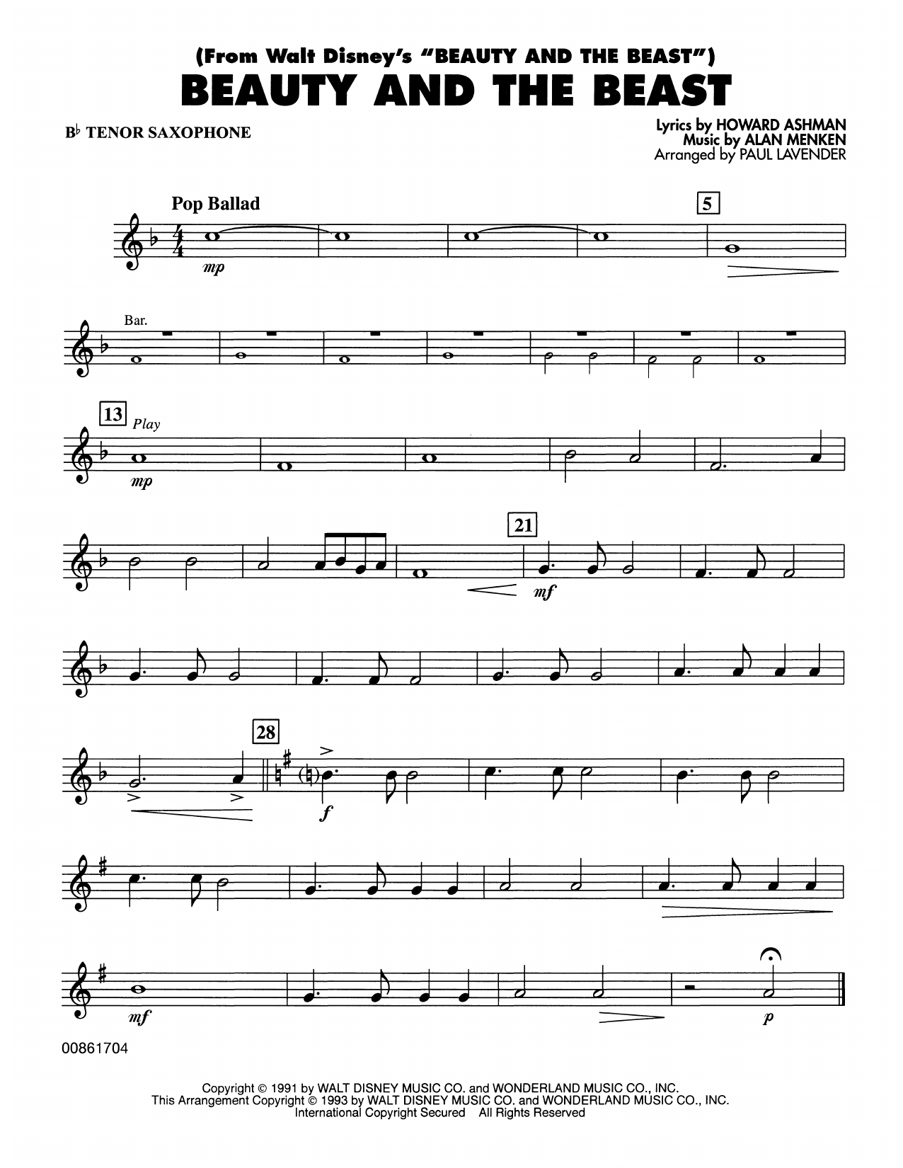 Beauty and the Beast - Bb Tenor Sax Sheet Music