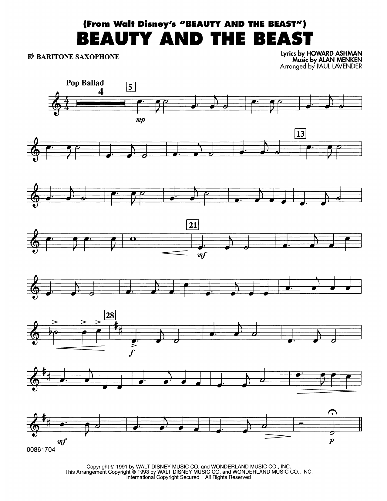 Beauty and the Beast - Eb Baritone Sax Sheet Music