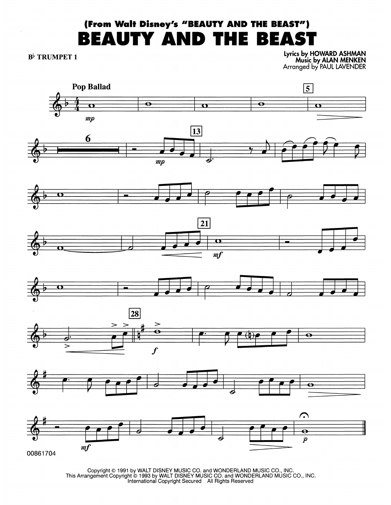 Beauty and the Beast - Bb Trumpet 1 Sheet Music