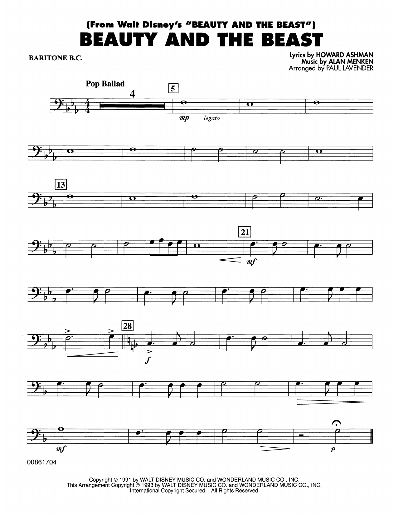 Beauty and the Beast - Baritone B.C. Sheet Music