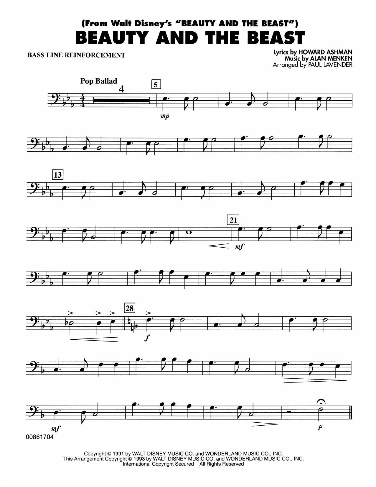 Beauty and the Beast - Bass Line Reinforcement Partituras Digitales