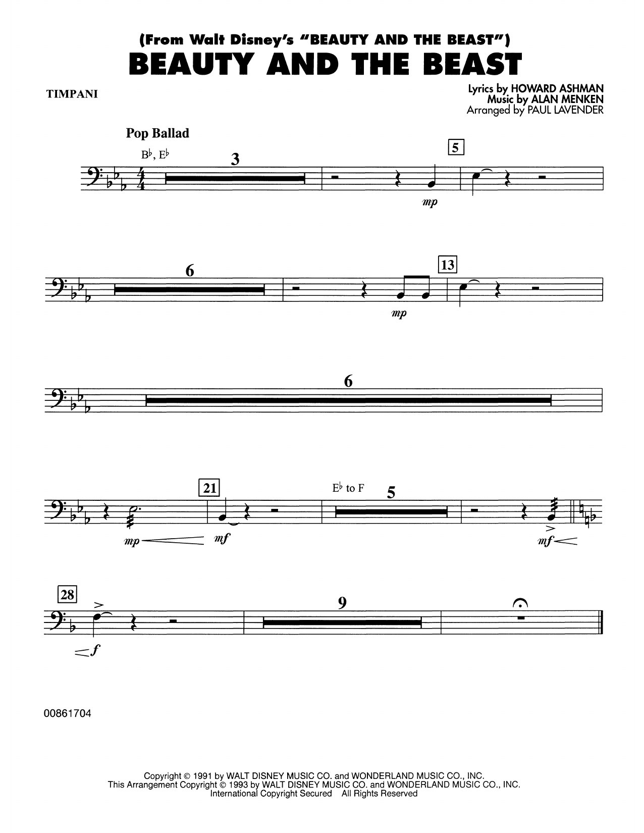Beauty and the Beast - Timpani Sheet Music