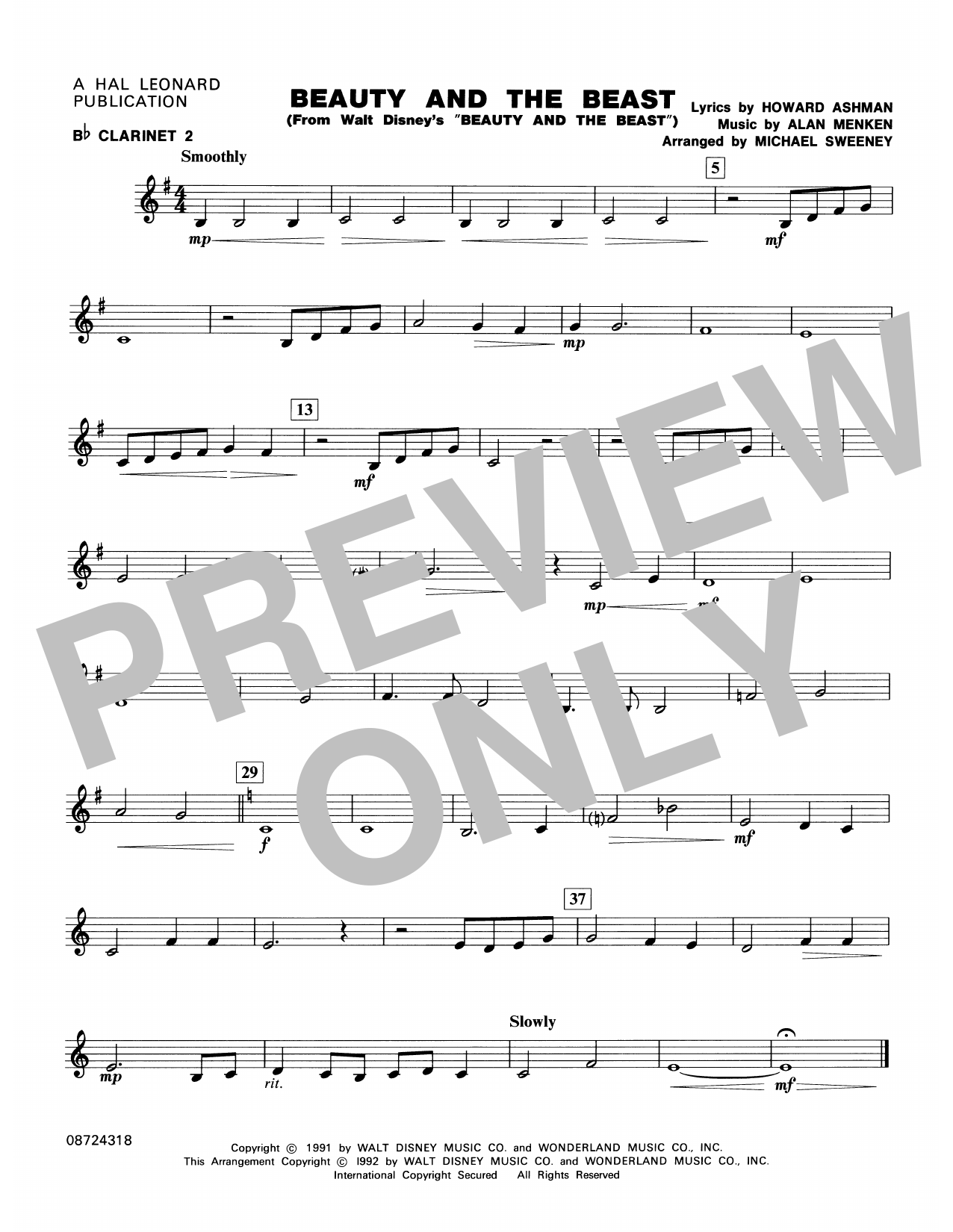 Beauty and the Beast - Bb Clarinet 2 Sheet Music