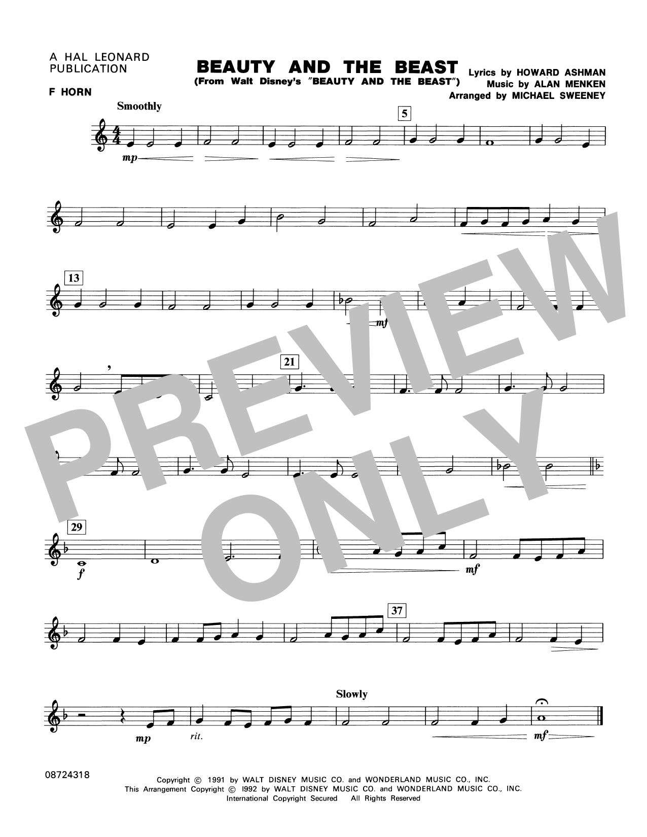 Beauty and the Beast - F Horn Sheet Music