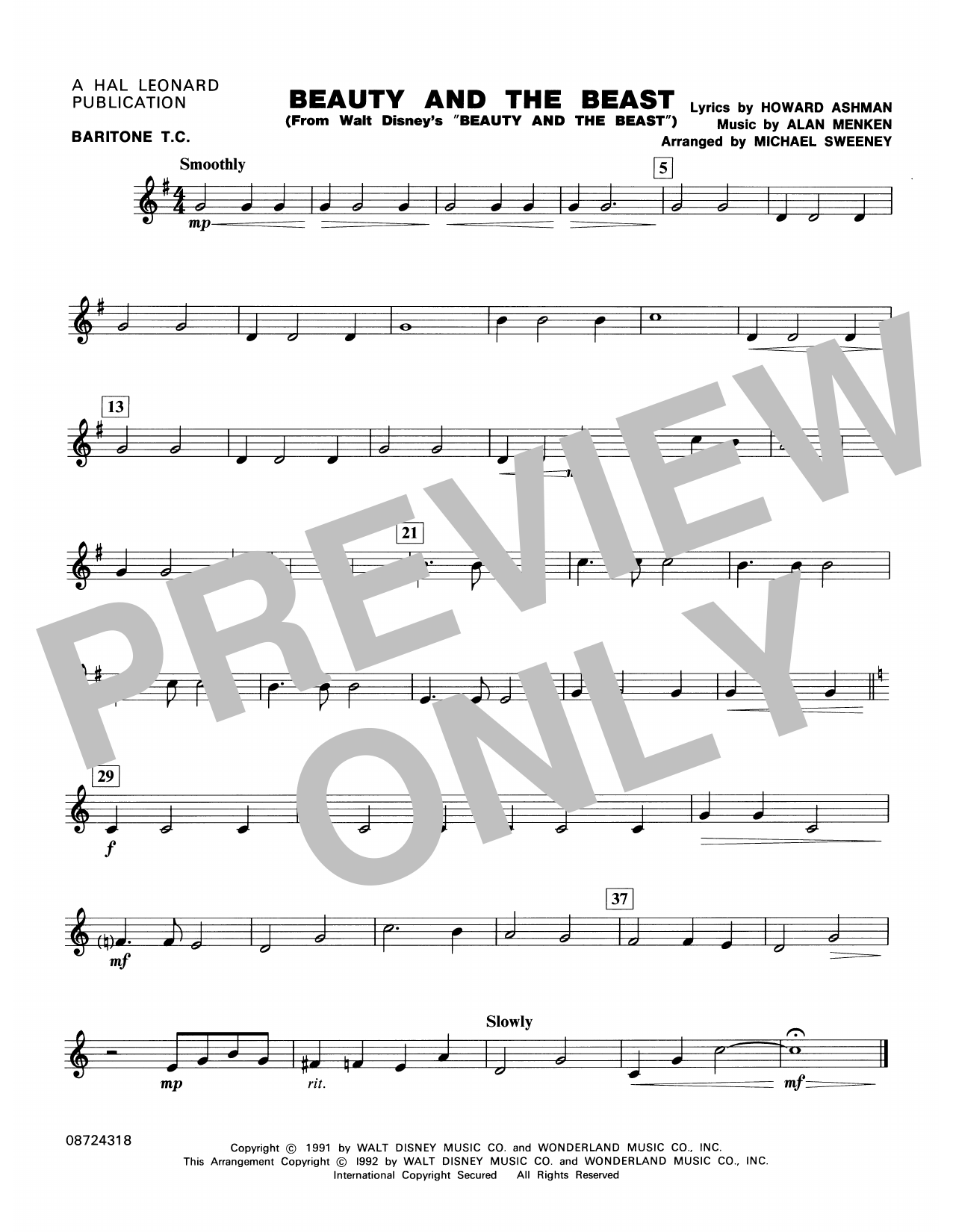 Beauty and the Beast - Baritone T.C. Sheet Music