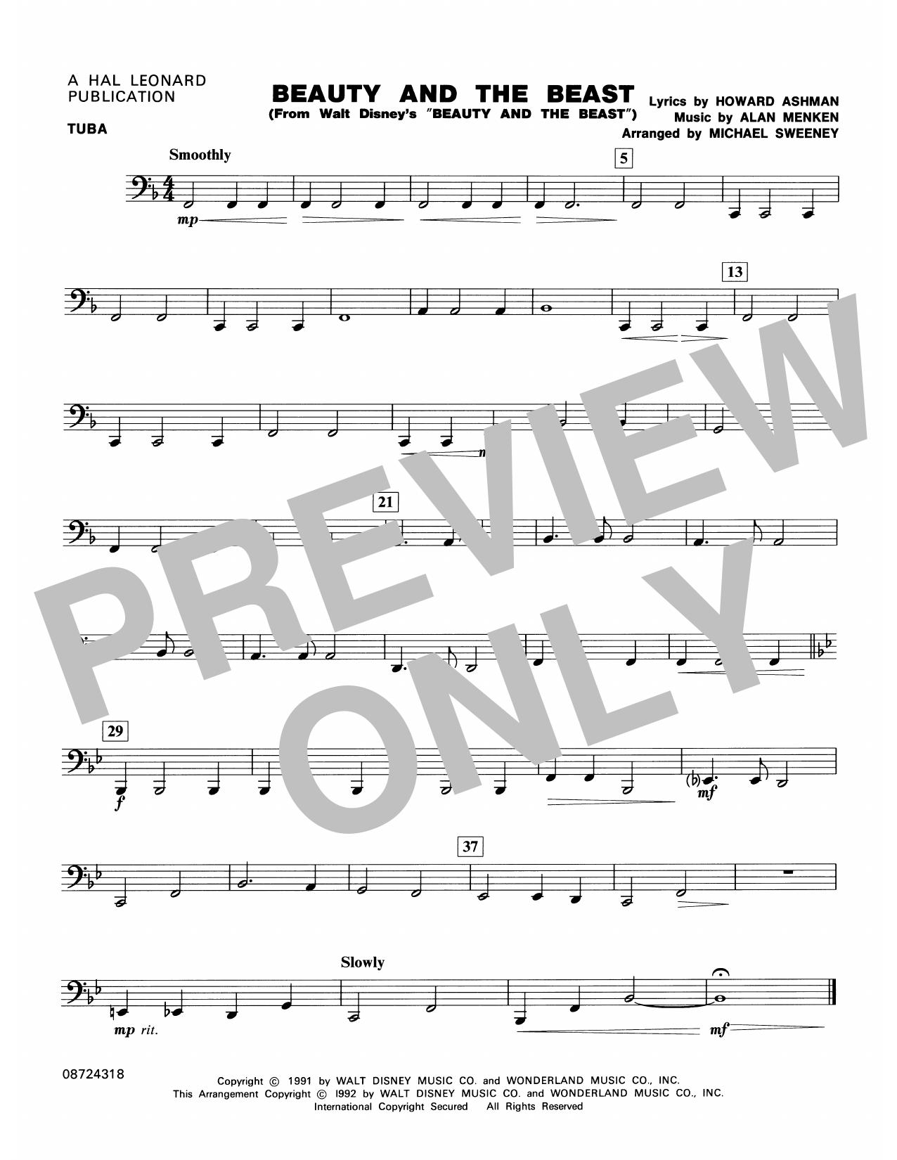Beauty and the Beast - Tuba Sheet Music