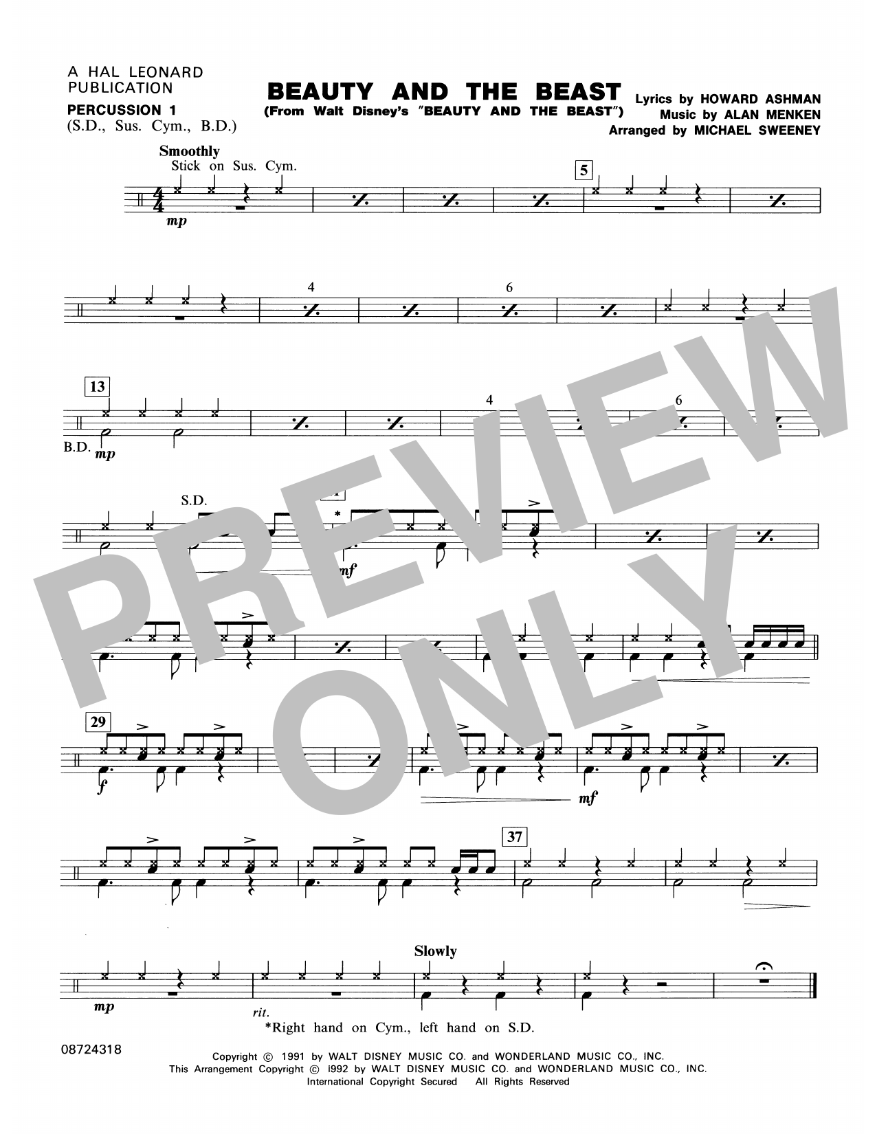 Beauty and the Beast - Percussion 1 Sheet Music